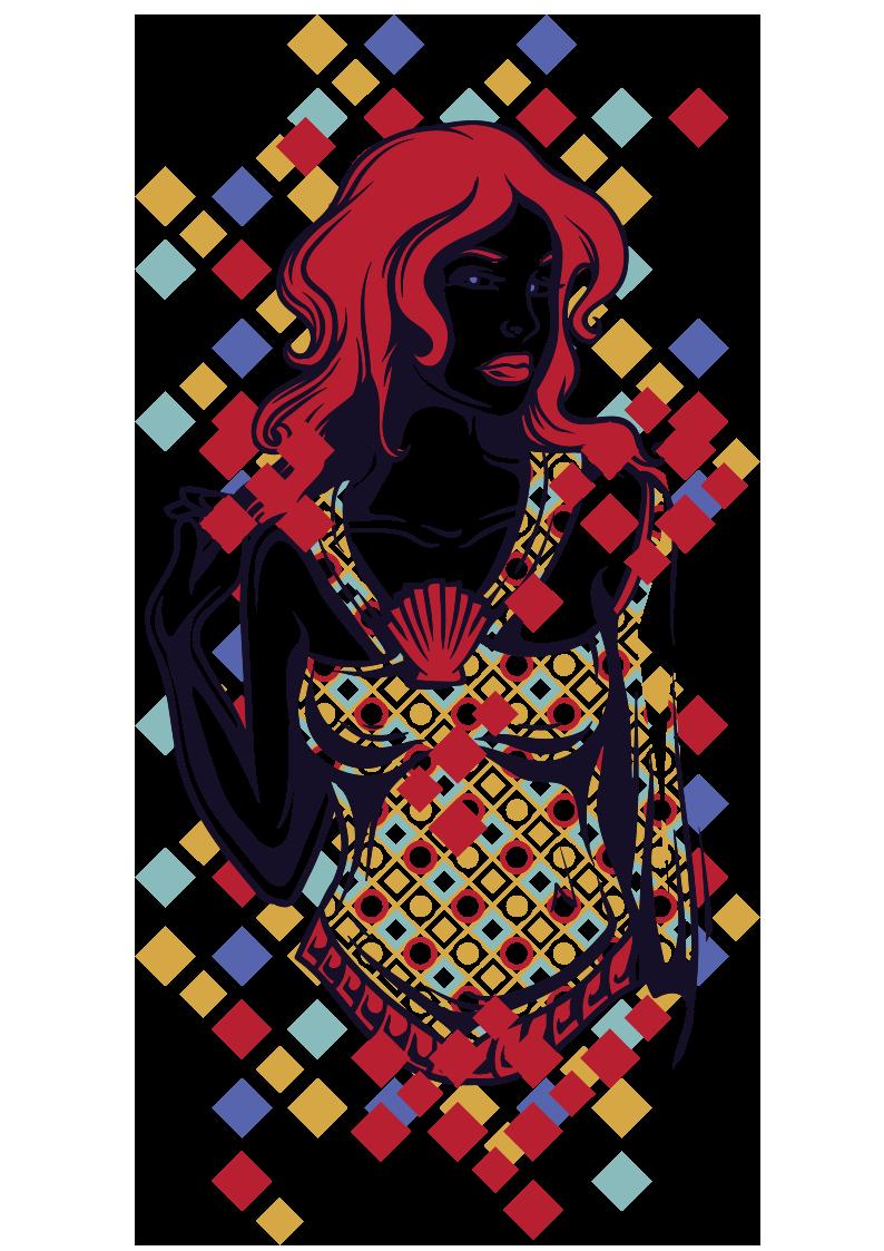 女士人物几何正方形拼接图案服装裁片T恤烫图印花花型素材-POP花型网