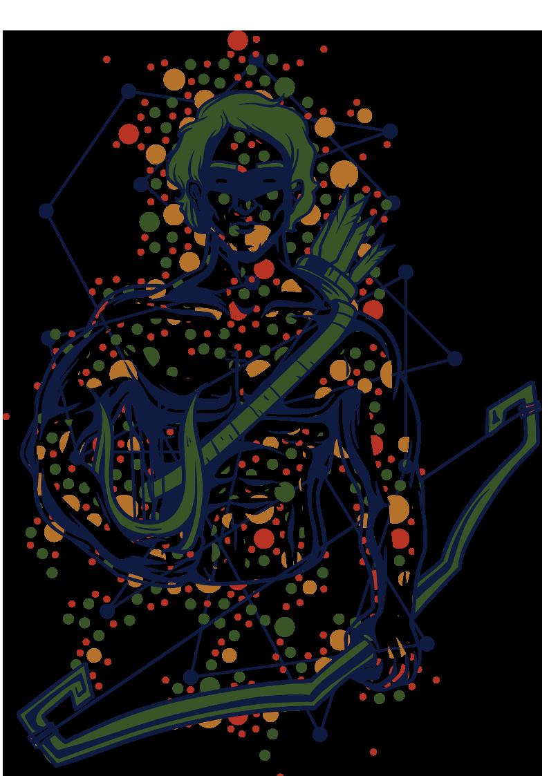 几何圆形射手座图案服装T恤烫图印花花型素材-POP花型网
