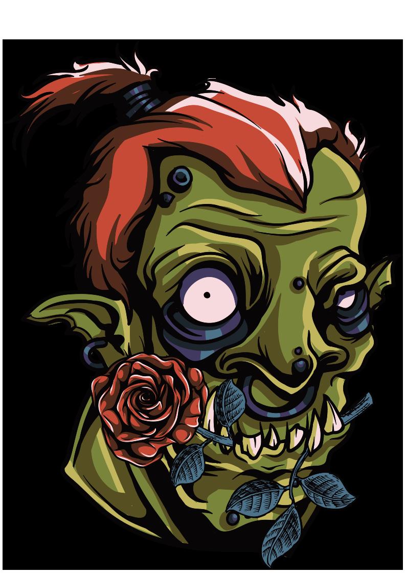 僵尸玫瑰花图案服装T恤烫图印花花型素材-POP花型网