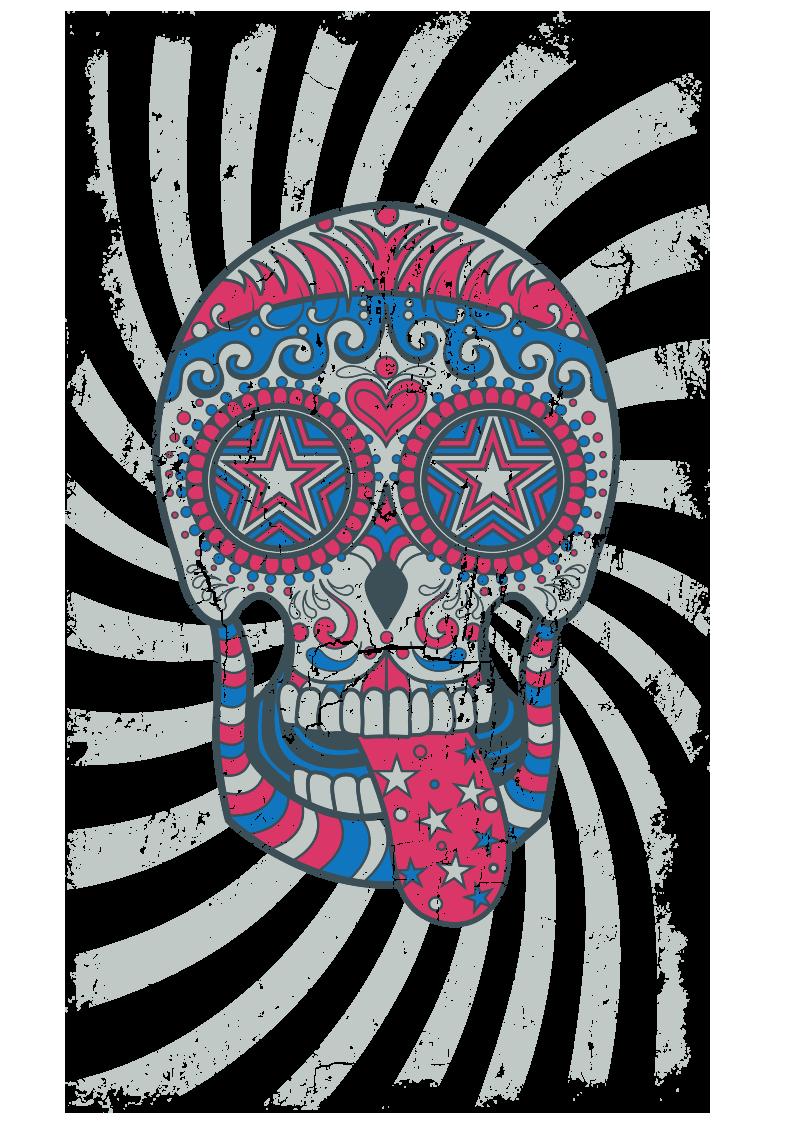 多彩图案拼接骷髅头图案服装T恤烫图印花花型素材-POP花型网