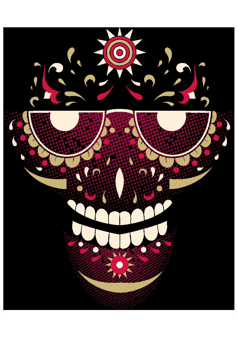 几何圆形图案拼接骷髅头图案服装T恤烫图印花花型素材-POP花型网