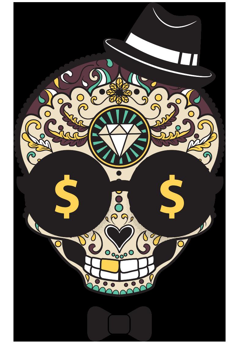 几何花纹拼接骷髅头钱币符号领结服装T恤烫图印花花型素材-POP花型网