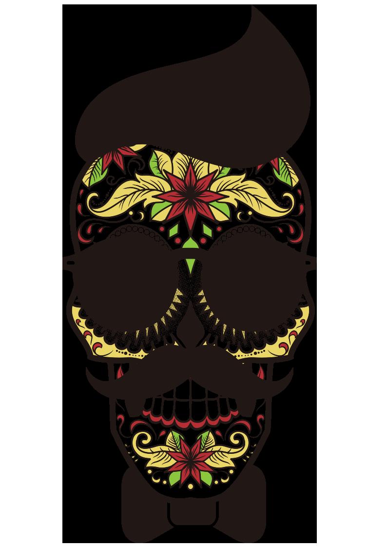 几何花纹拼接骷髅头领结服装T恤烫图印花花型素材-POP花型网