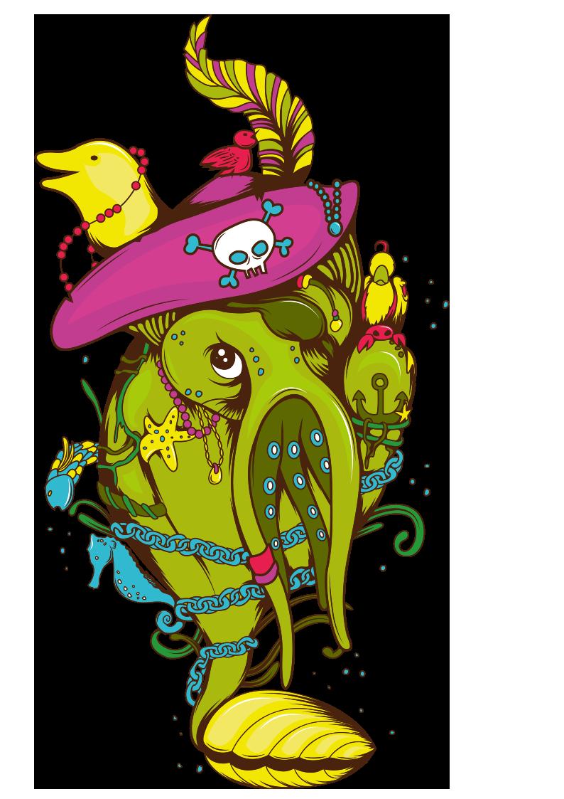 海洋动物章鱼海马海豚贝壳图案服装T恤裁片烫图印花花型素材-POP花型网