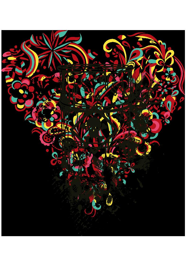 多彩花纹拼接心形图案服装T恤烫图印花花型素材-POP花型网