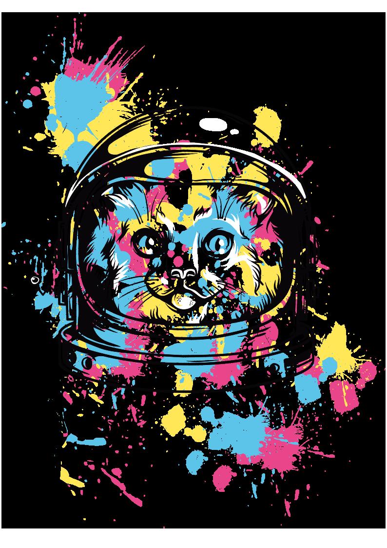 猫咪太空服多彩涂鸦图案服装T恤裁片烫图印花花型素材-POP花型网
