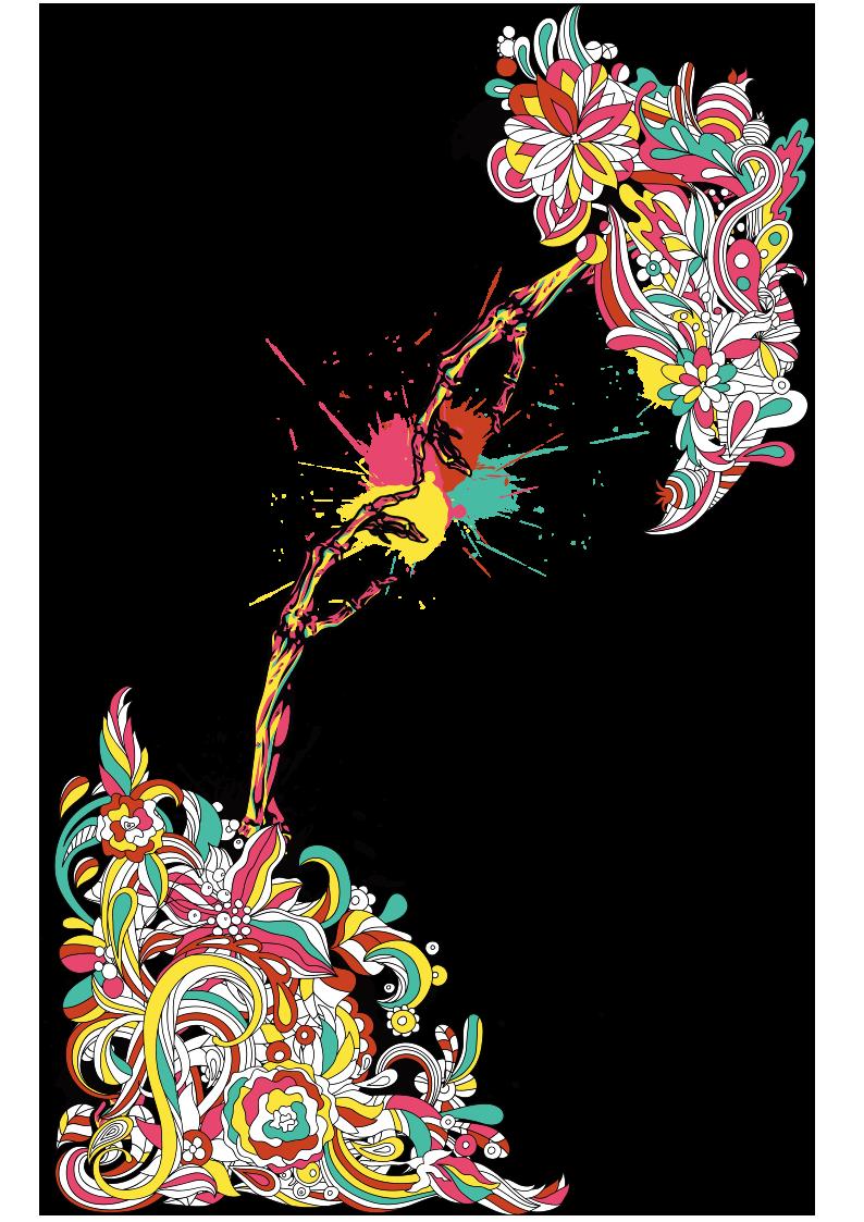 多彩花纹涂鸦图案服装T恤裁片T恤烫图印花花型素材-POP花型网