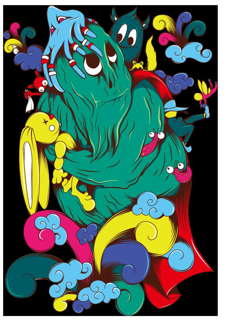 卡通怪兽云朵图案服装T恤烫图印花花型素材-POP花型网