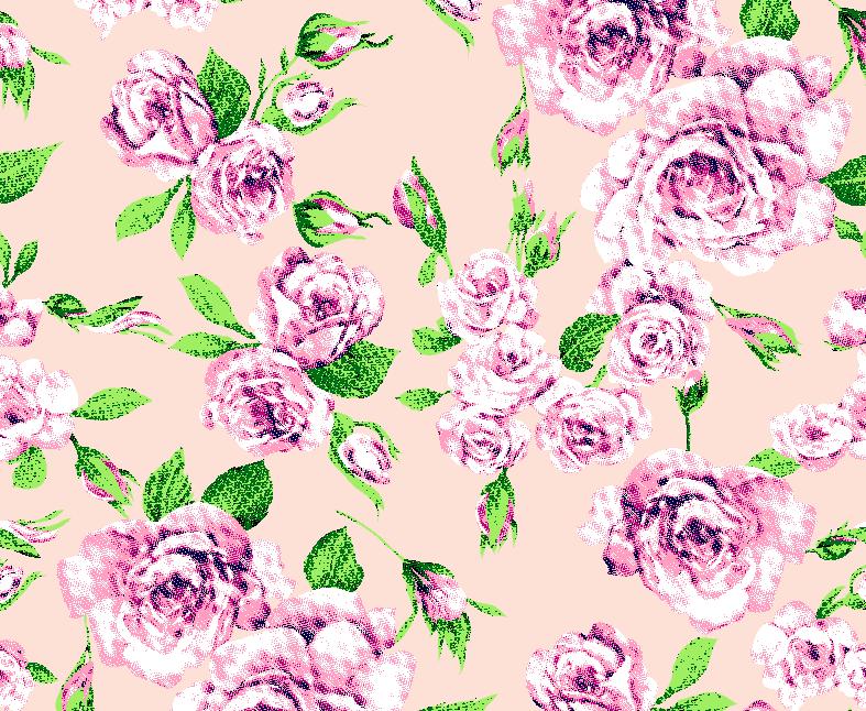 植物玫瑰花卉矢量图服装纺织面料水印数码印花金昌花型素材-POP花型网