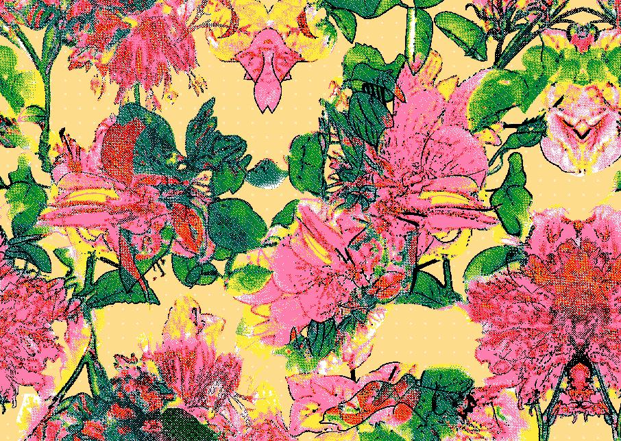 多彩植物花卉牡丹花矢量图服装纺织面料水印数码印花金昌花型素材-POP花型网