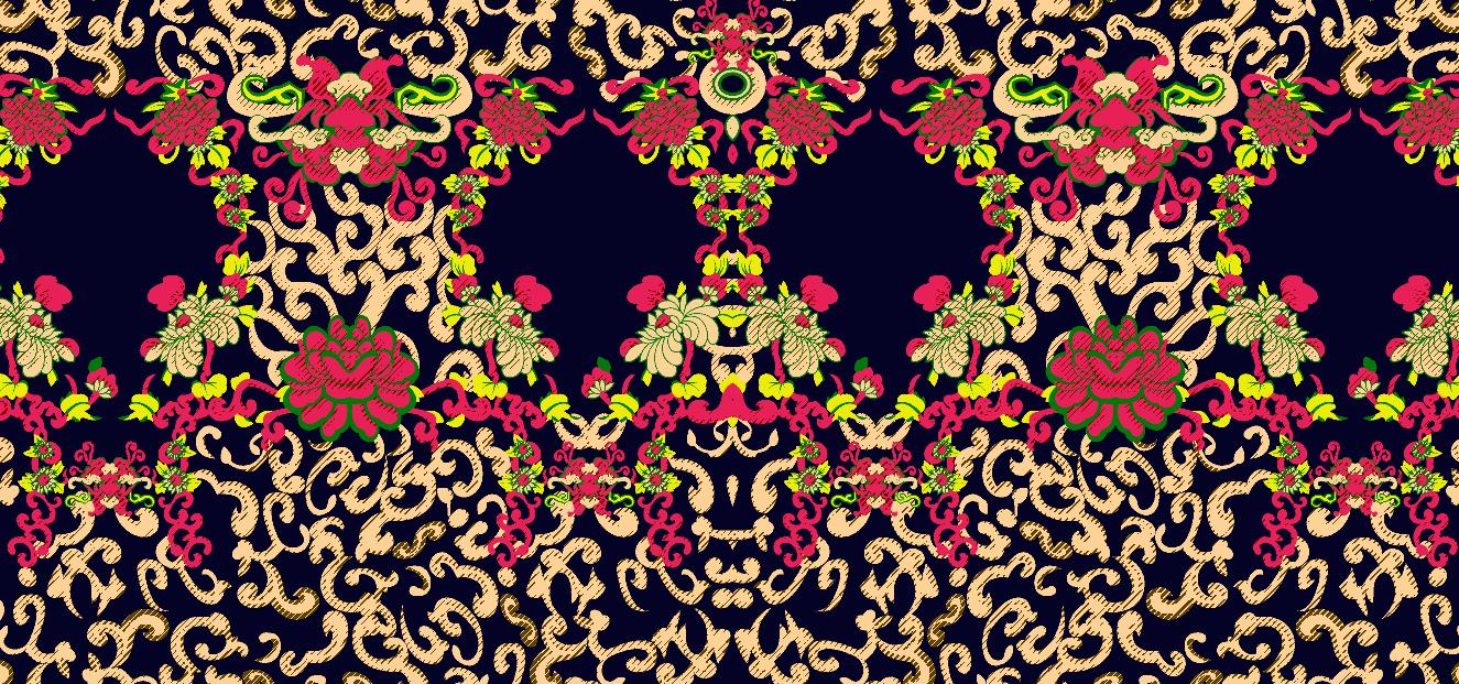 几何花纹植物牡丹花朵矢量图服装纺织面料水印数码印花金昌花型素材-POP花型网