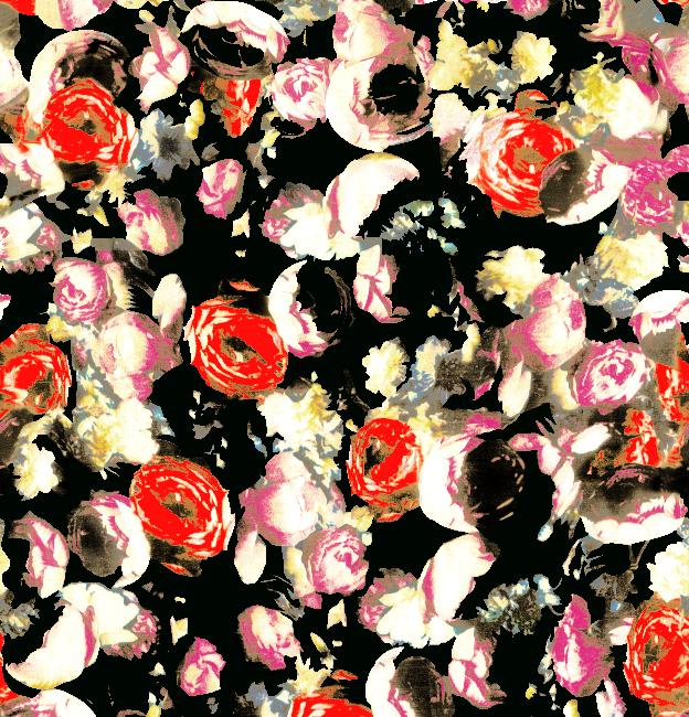 植物玫瑰花卉拼接矢量图服装纺织面料水印数码印花金昌花型素材-POP花型网