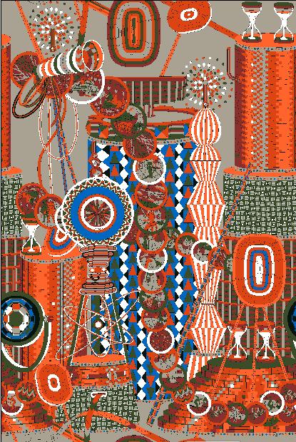 几何花纹科技风矢量图服装纺织面料水印数码印花花型素材-POP花型网