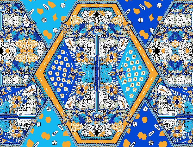 民族风几何花纹拼接矢量图服装纺织面料水印数码印花金昌花型素材-POP花型网
