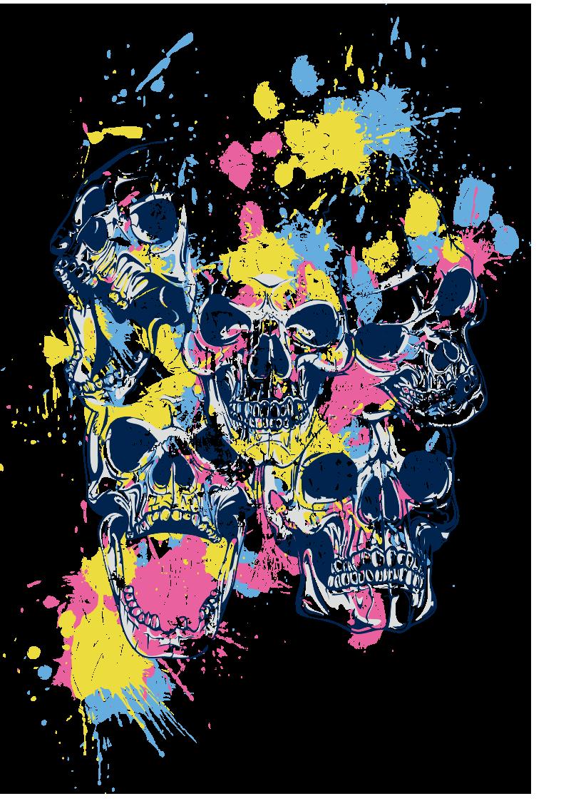多彩涂鸦骷髅头图案服装裁片T恤烫图印花花型素材-POP花型网