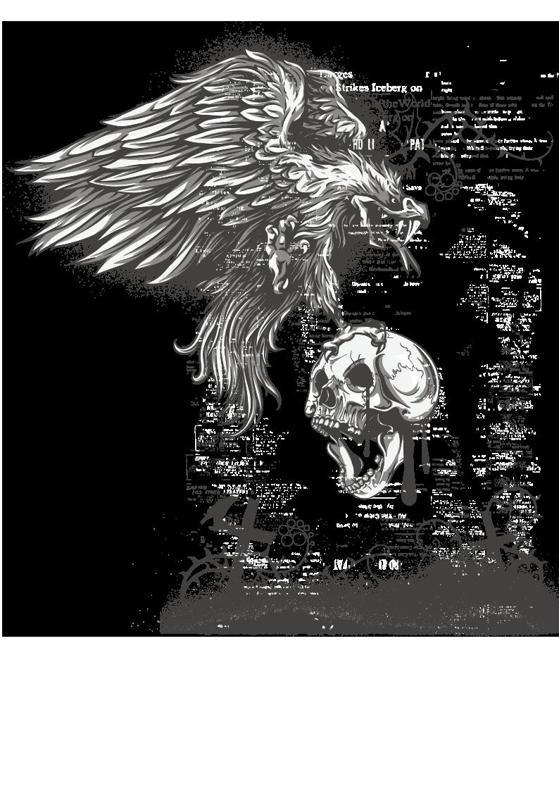 老鹰骷髅头字母图案服装T恤烫图印花花型素材-POP花型网