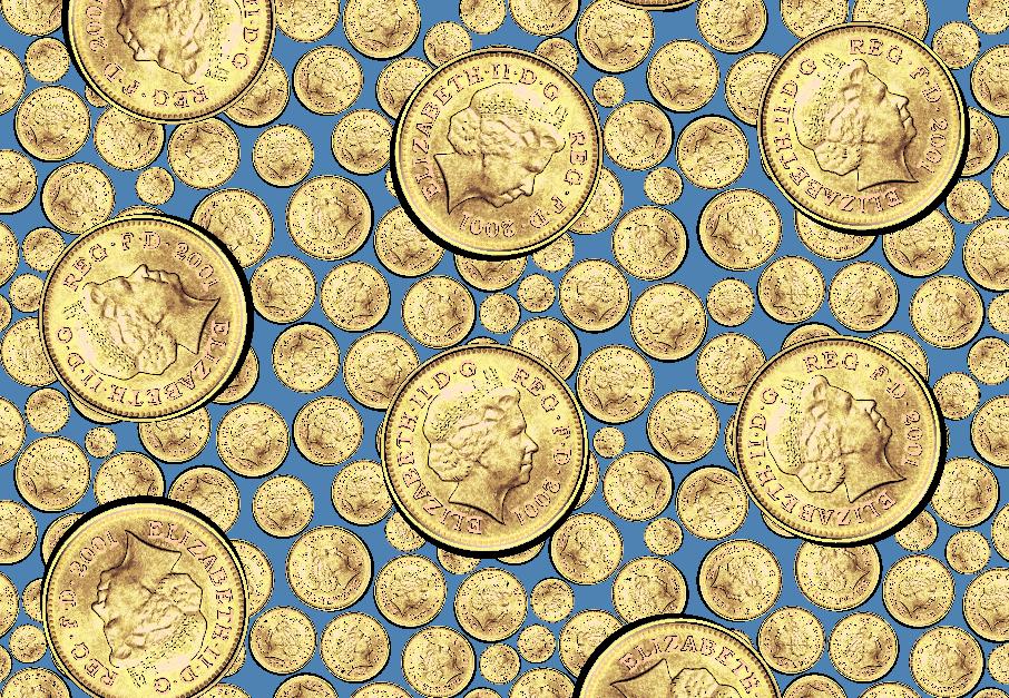 硬币英国女王图案矢量图服装纺织面料水印数码印花金昌花型素材-POP花型网