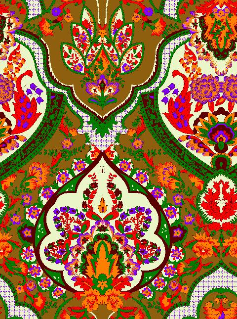 复古民族风植物花纹矢量图服装纺织面料水印数码印花金昌花型素材-POP花型网