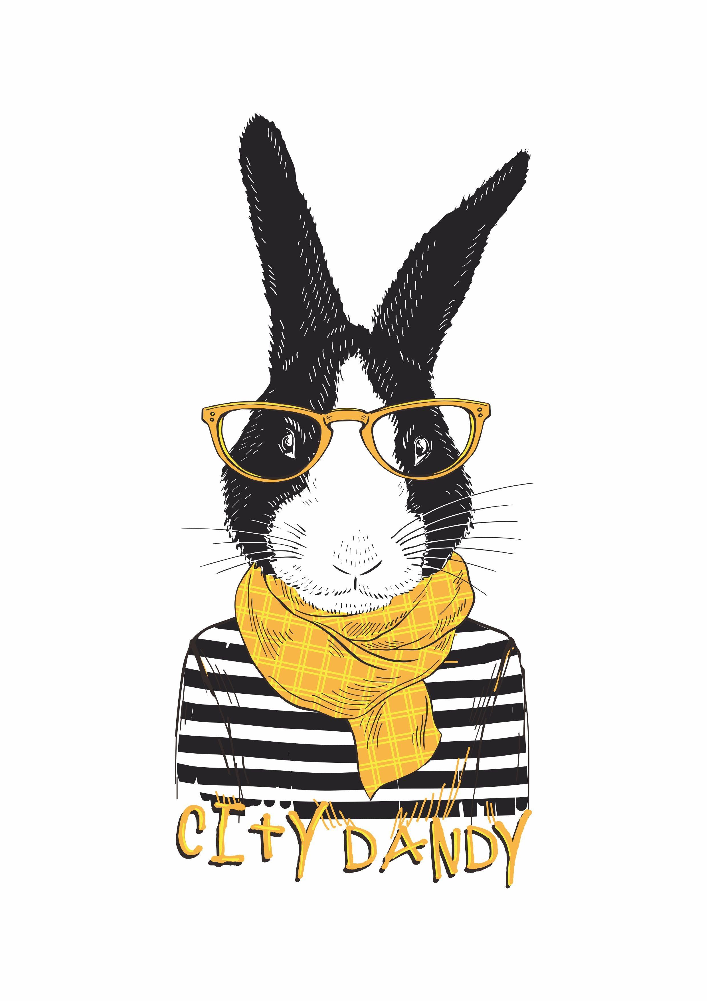 动物兔子字母矢量图服装T恤裁片烫图印花花型素材-POP花型网
