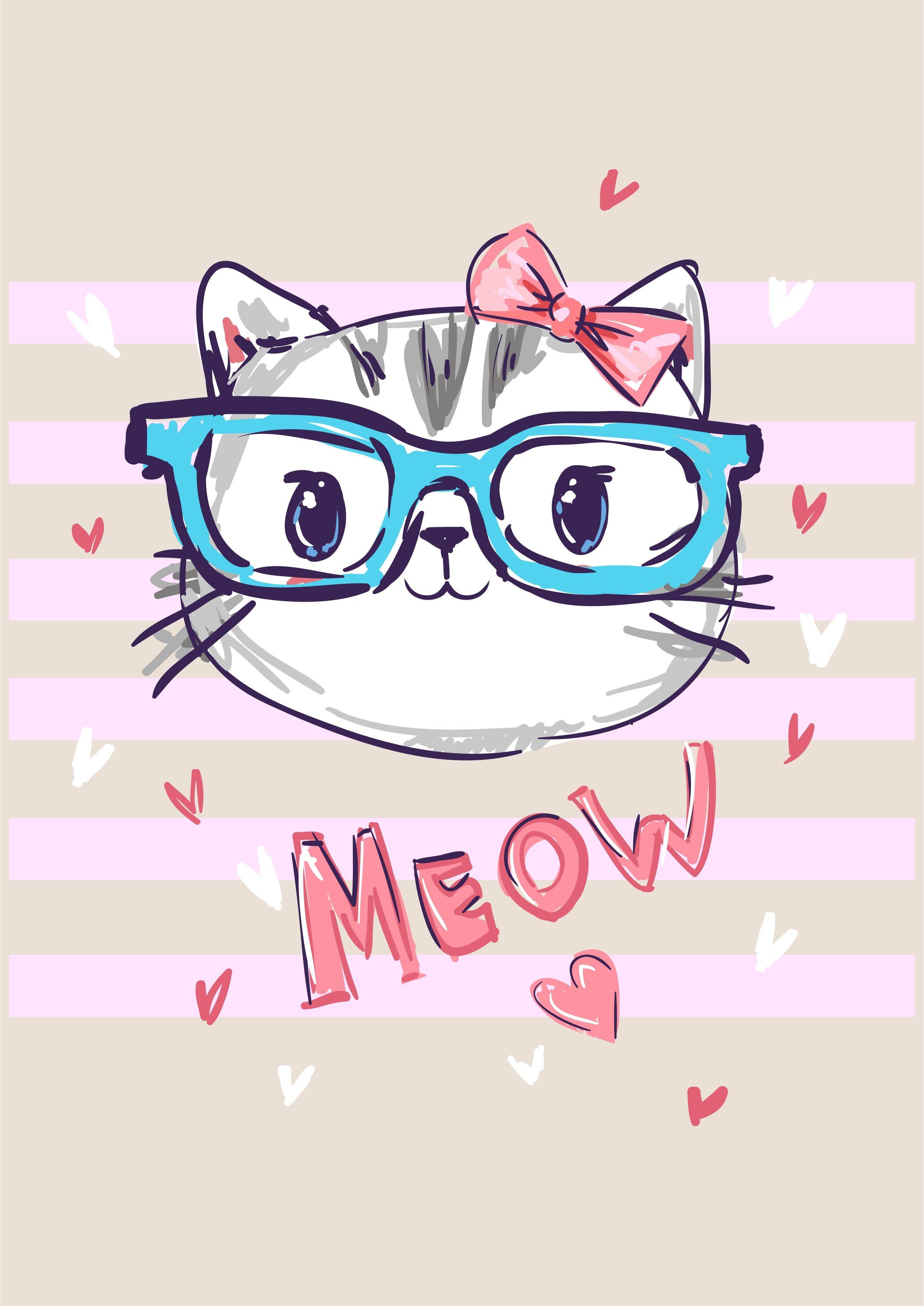 猫咪眼镜心形字母矢量图服装T恤裁片烫图印花花型素材-POP花型网