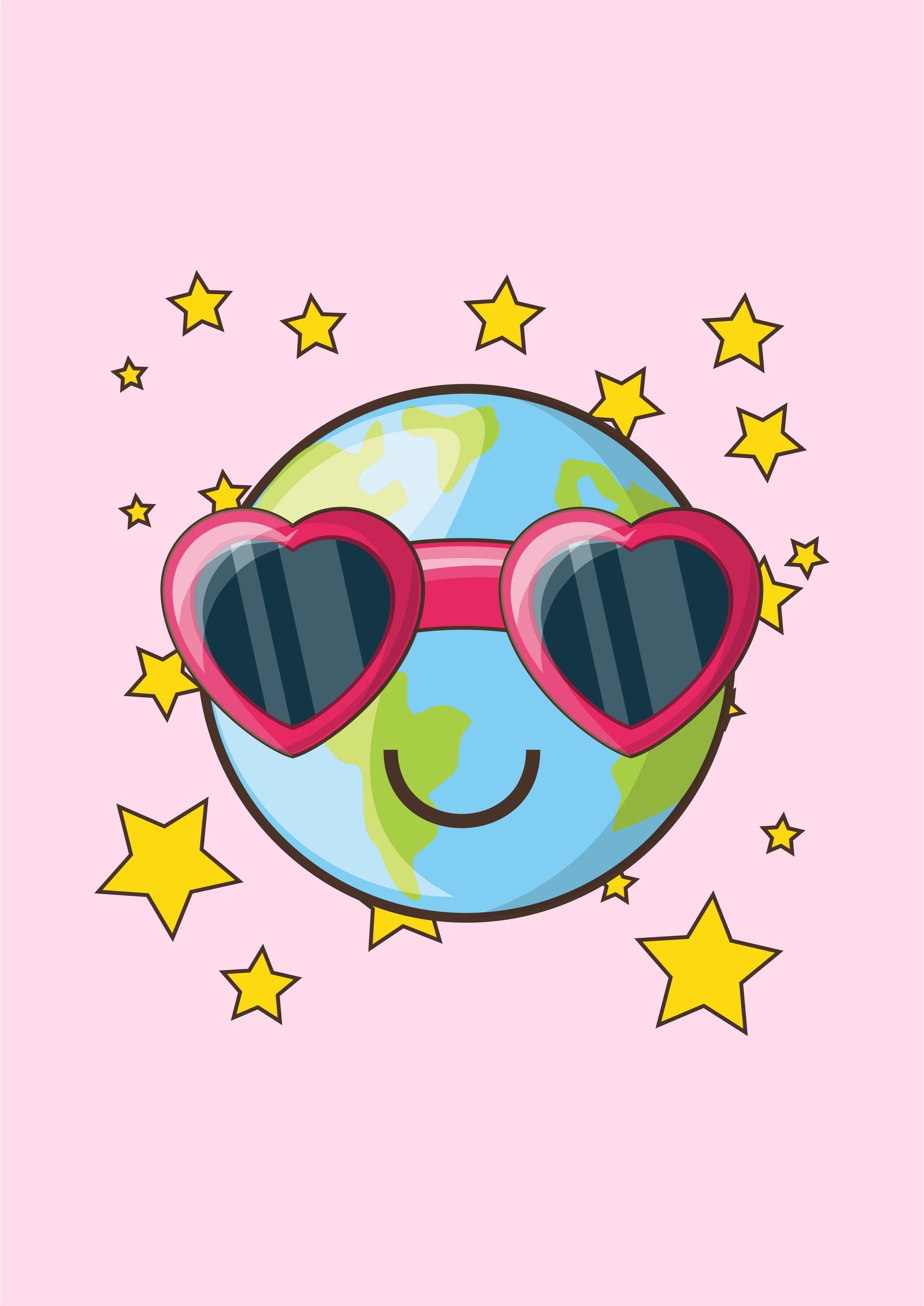 卡通地球墨镜星星矢量图儿童T恤烫图裁片印花花型素材-POP花型网