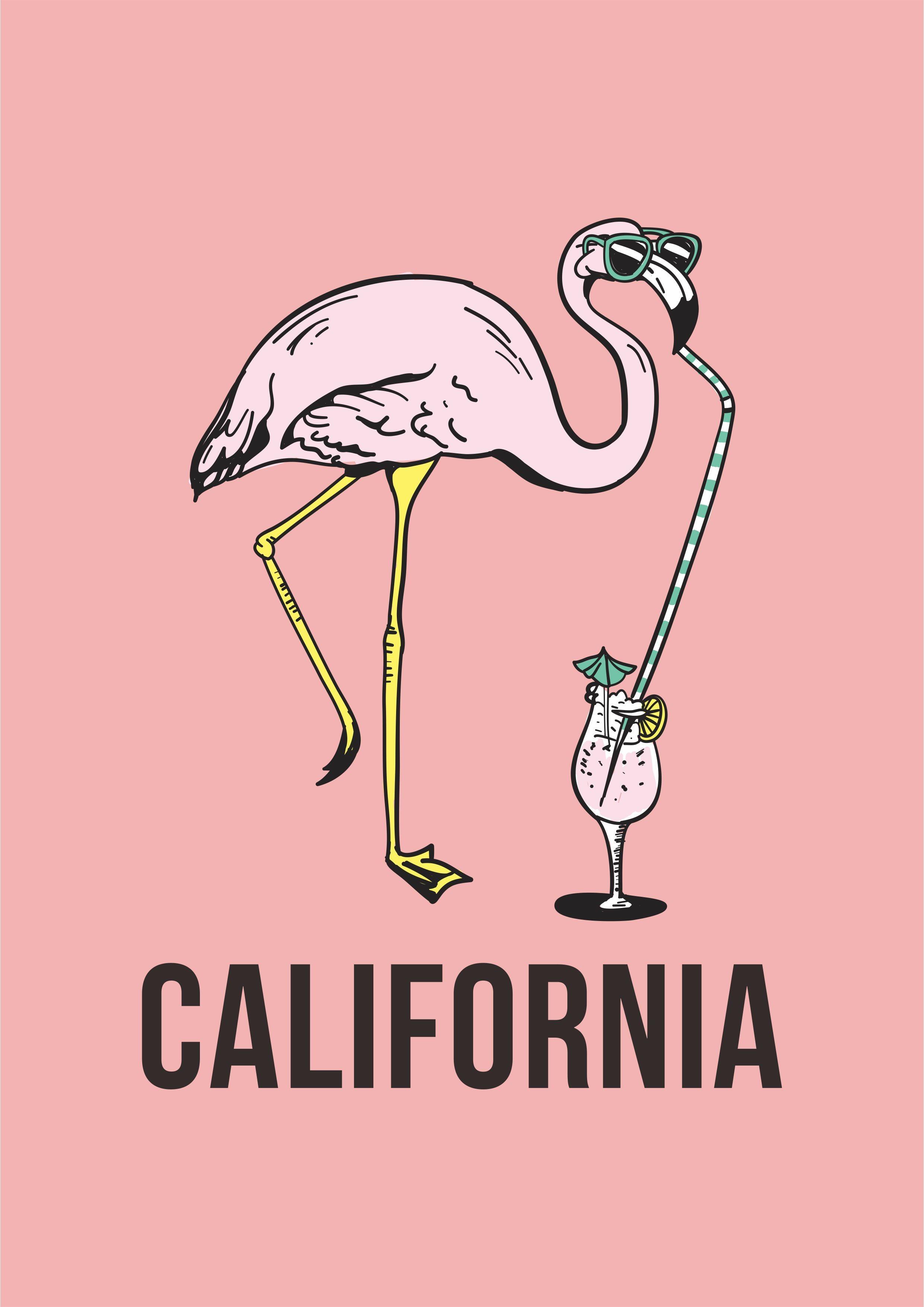 卡通动物火烈鸟字母矢量图服装T恤裁片烫图印花花型素材-POP花型网