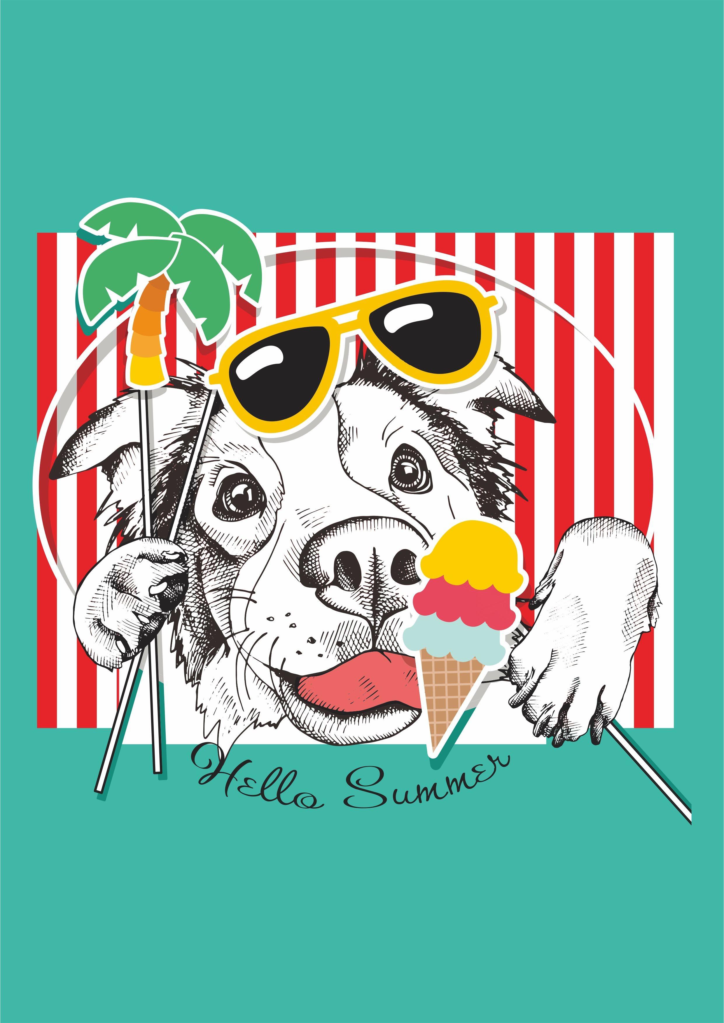 沙滩风小狗墨镜冰淇淋矢量图服装T恤裁片烫图印花花型素材-POP花型网