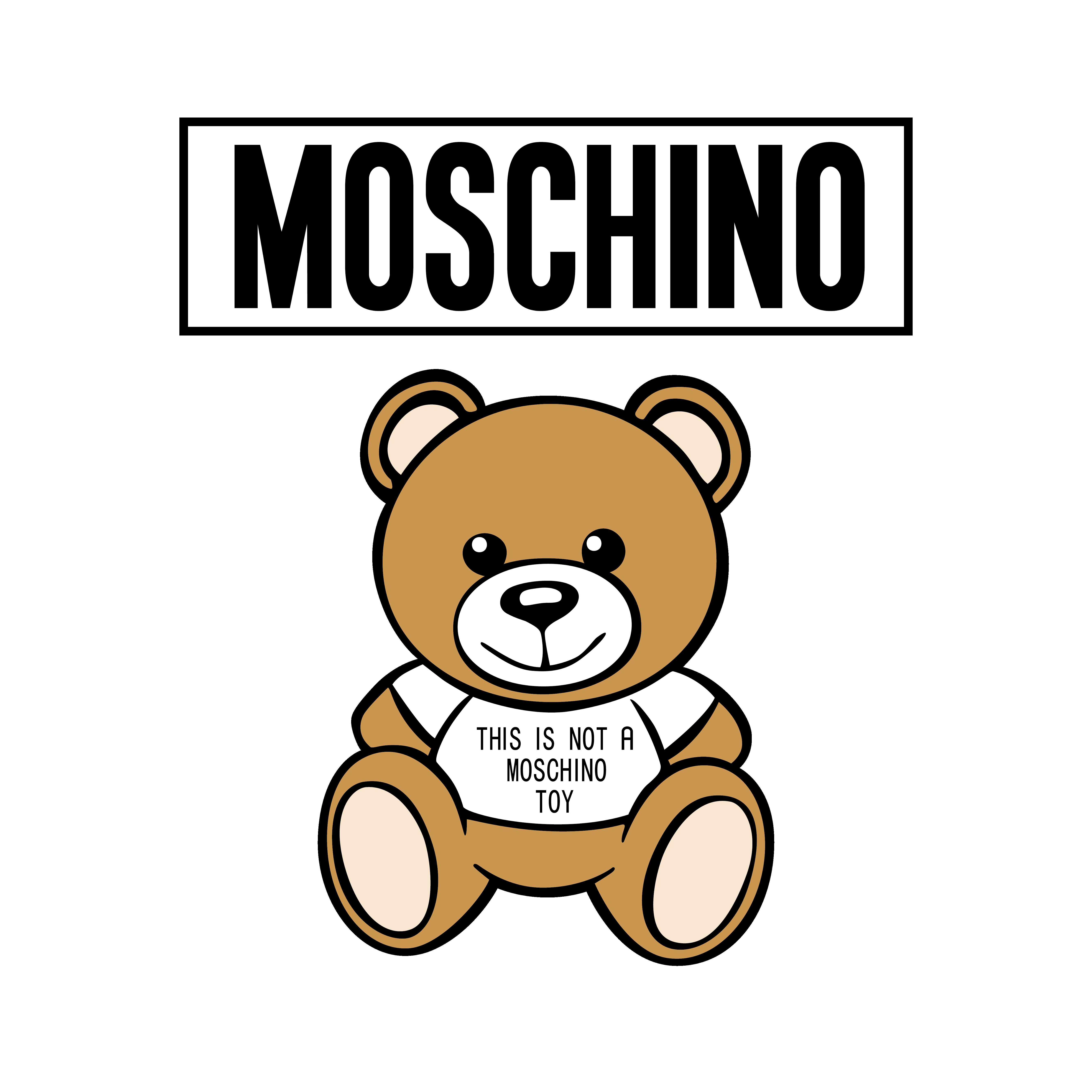儿童玩具莫斯奇诺棕熊字母TOY图案服装T恤裁片烫图印花花型素材-POP花型网