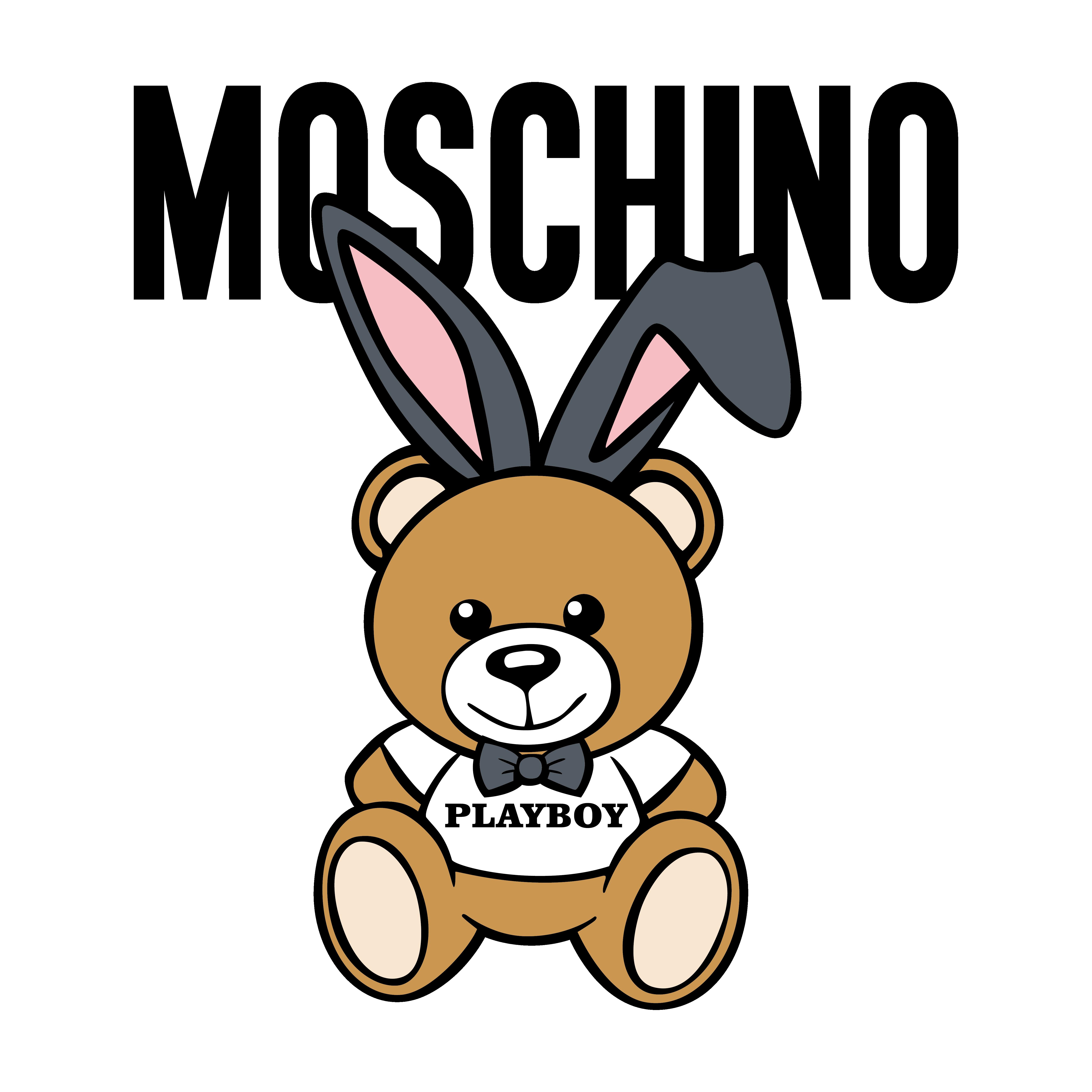 儿童玩具莫斯奇诺棕熊字母图案服装T恤裁片烫图印花花型素材-POP花型网