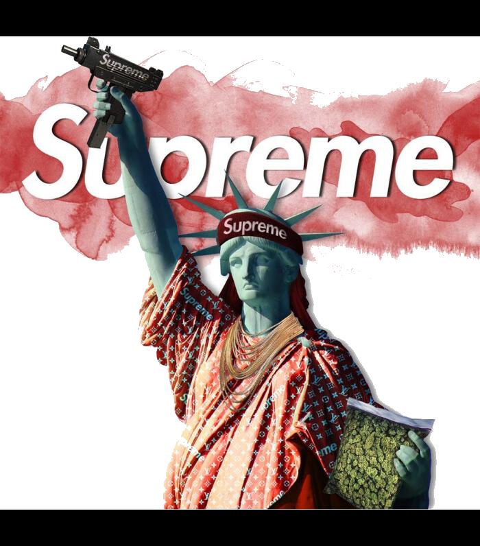 自由女神枪支字母supreme图案服装T恤裁片烫图印花花型素材-POP花型网