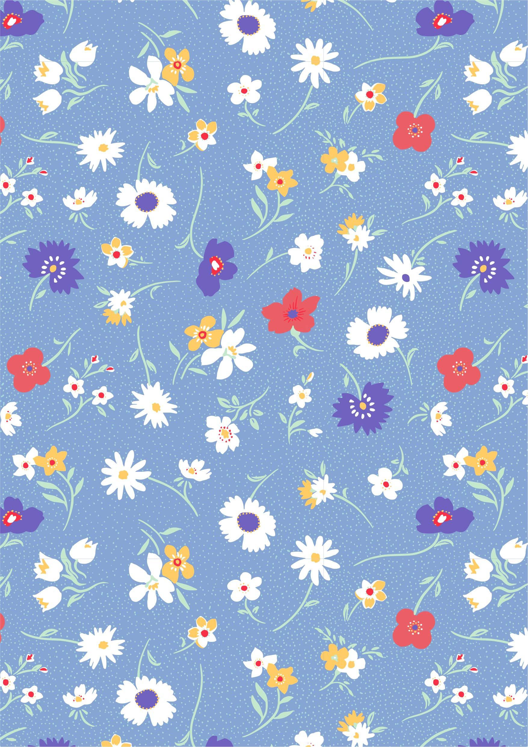 植物花朵菊花圆点矢量图服装纺织面料水印数码印花花型素材-POP花型网