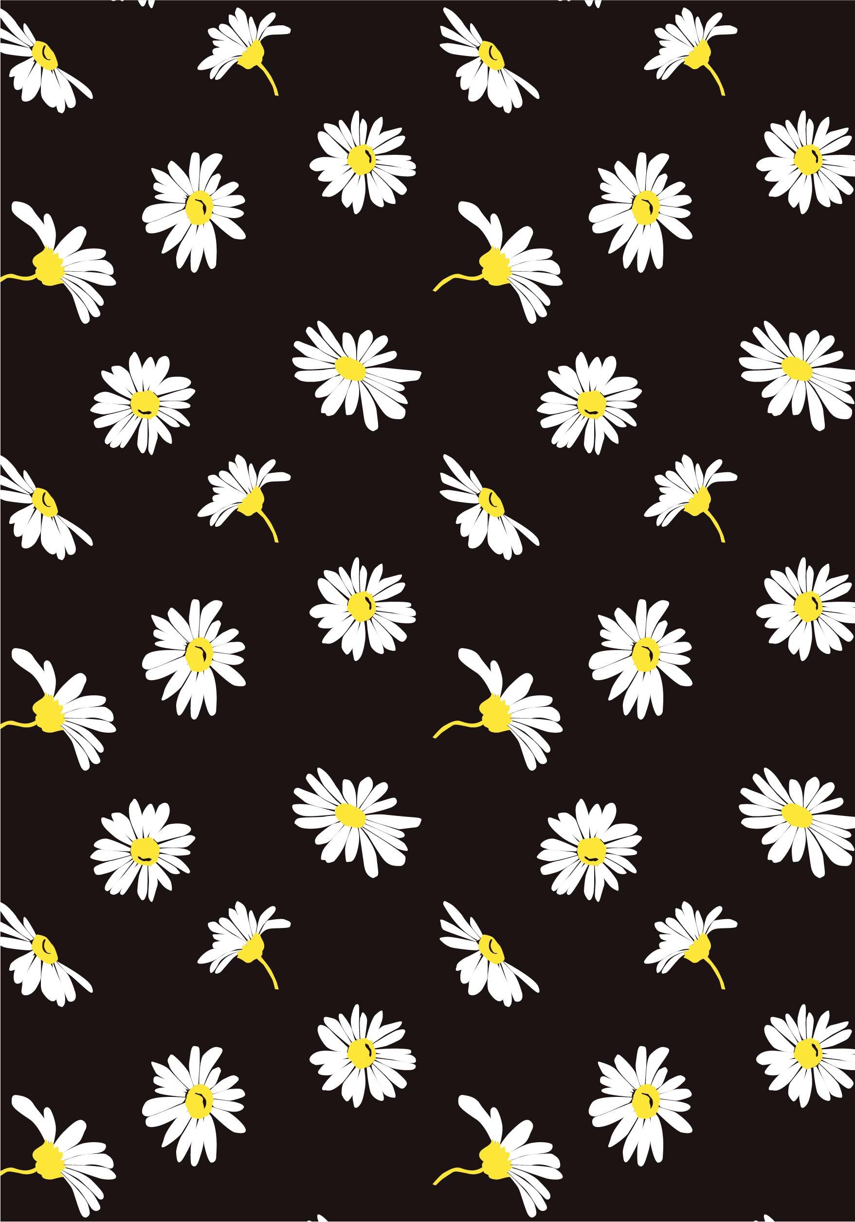 植物菊花花朵拼接矢量图服装纺织面料水印数码印花花型素材-POP花型网