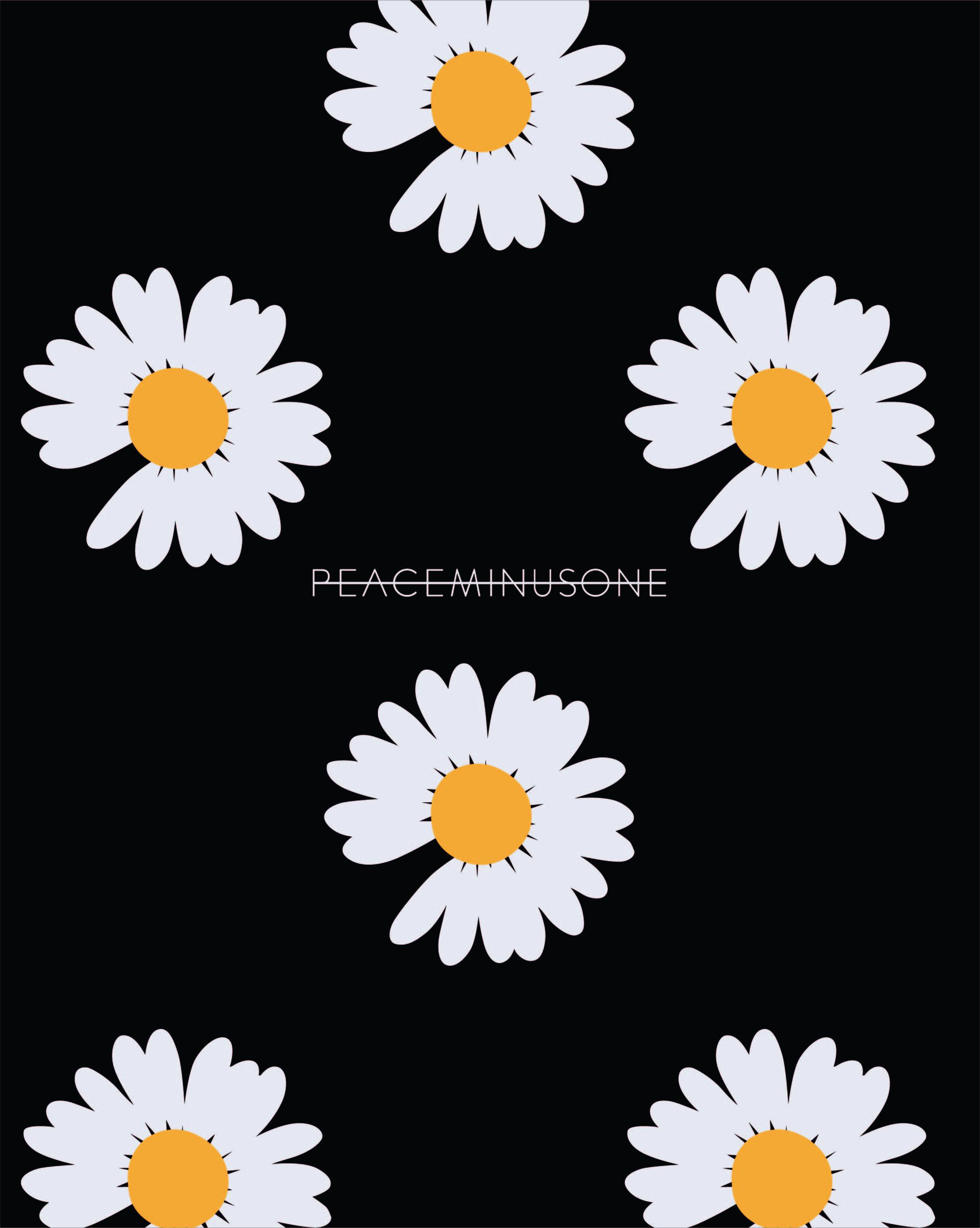 白菊菊花字母Peaceminusone矢量图服装T恤裁片烫图印花花型素材-POP花型网