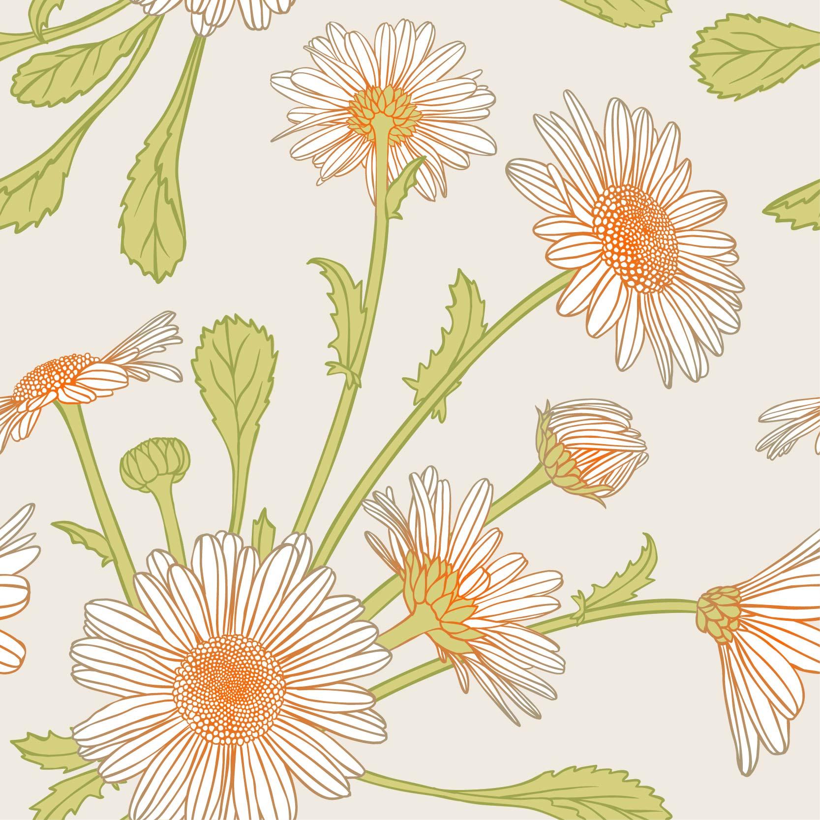 植物花朵菊花矢量图服装纺织面料数码印花花型素材-POP花型网