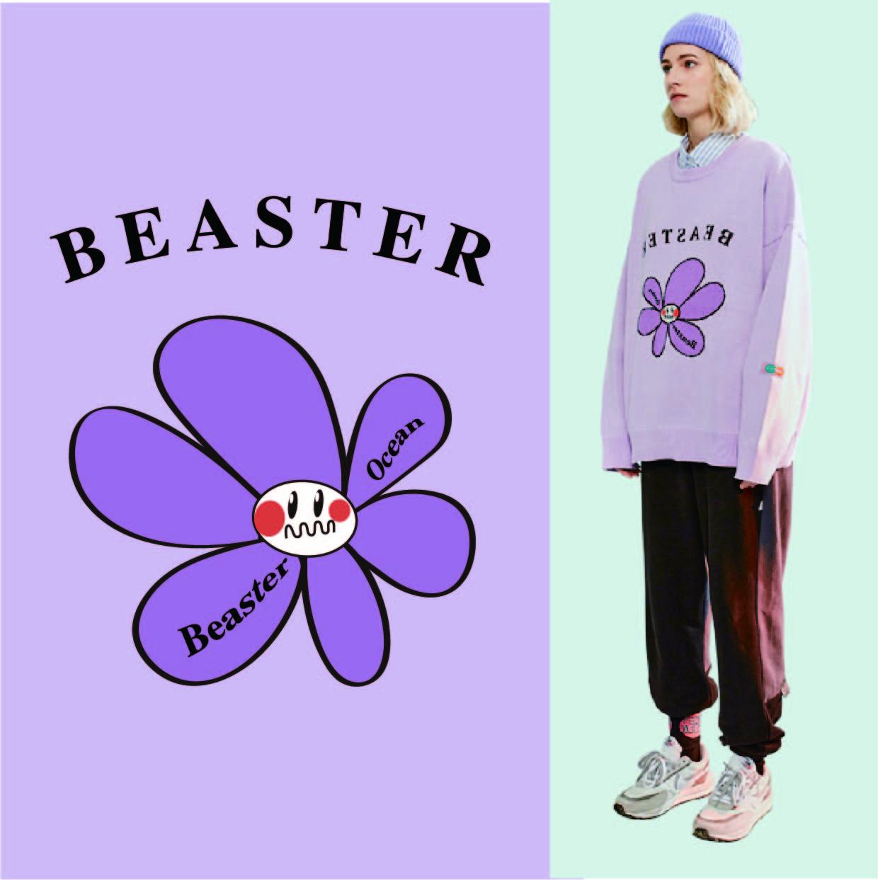 菊花花朵英文字母Beaster矢量图服装T恤裁片烫图印花花型素材-POP花型网