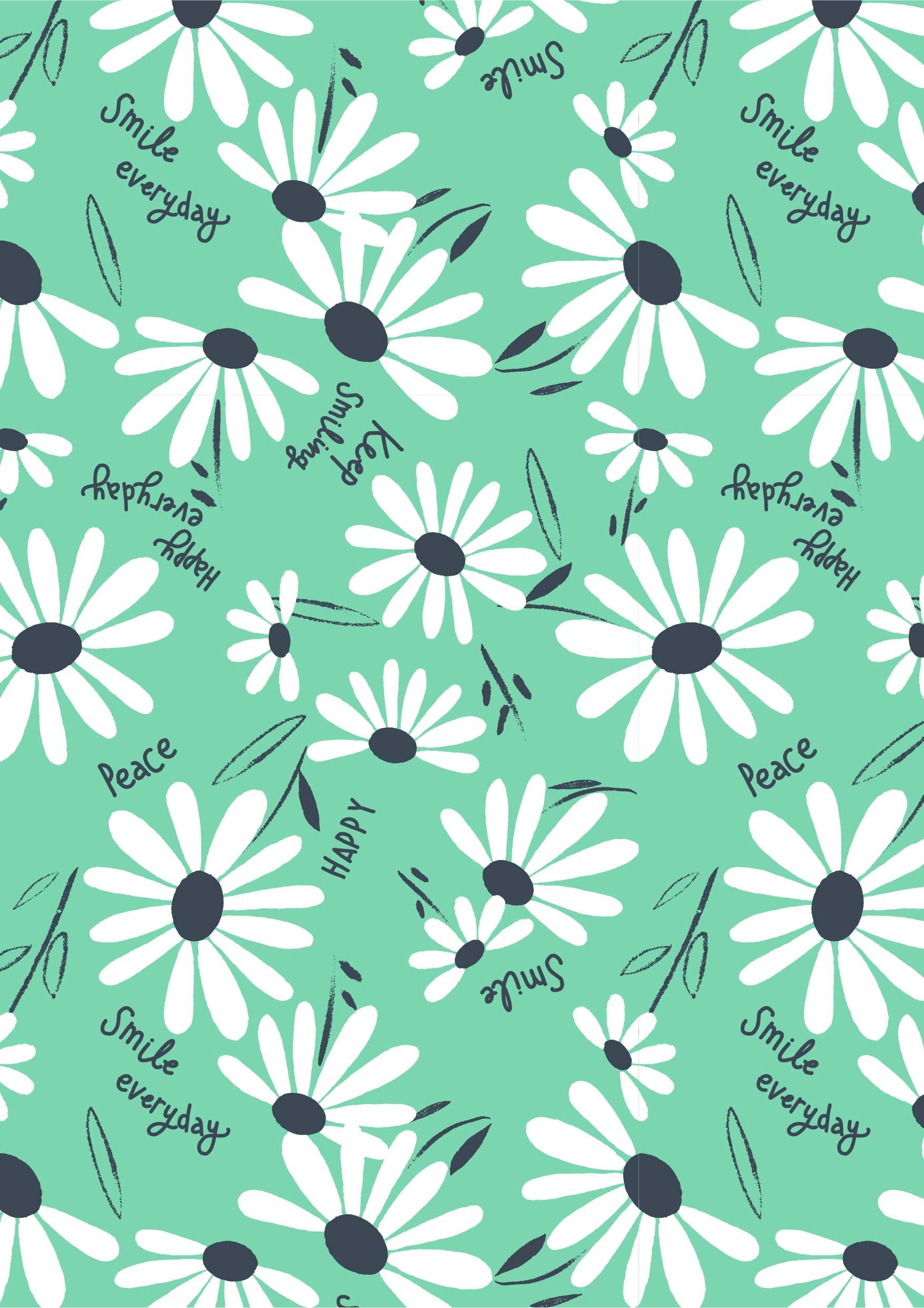 植物菊花花朵字母矢量图服装纺织面料数码印花花型素材-POP花型网