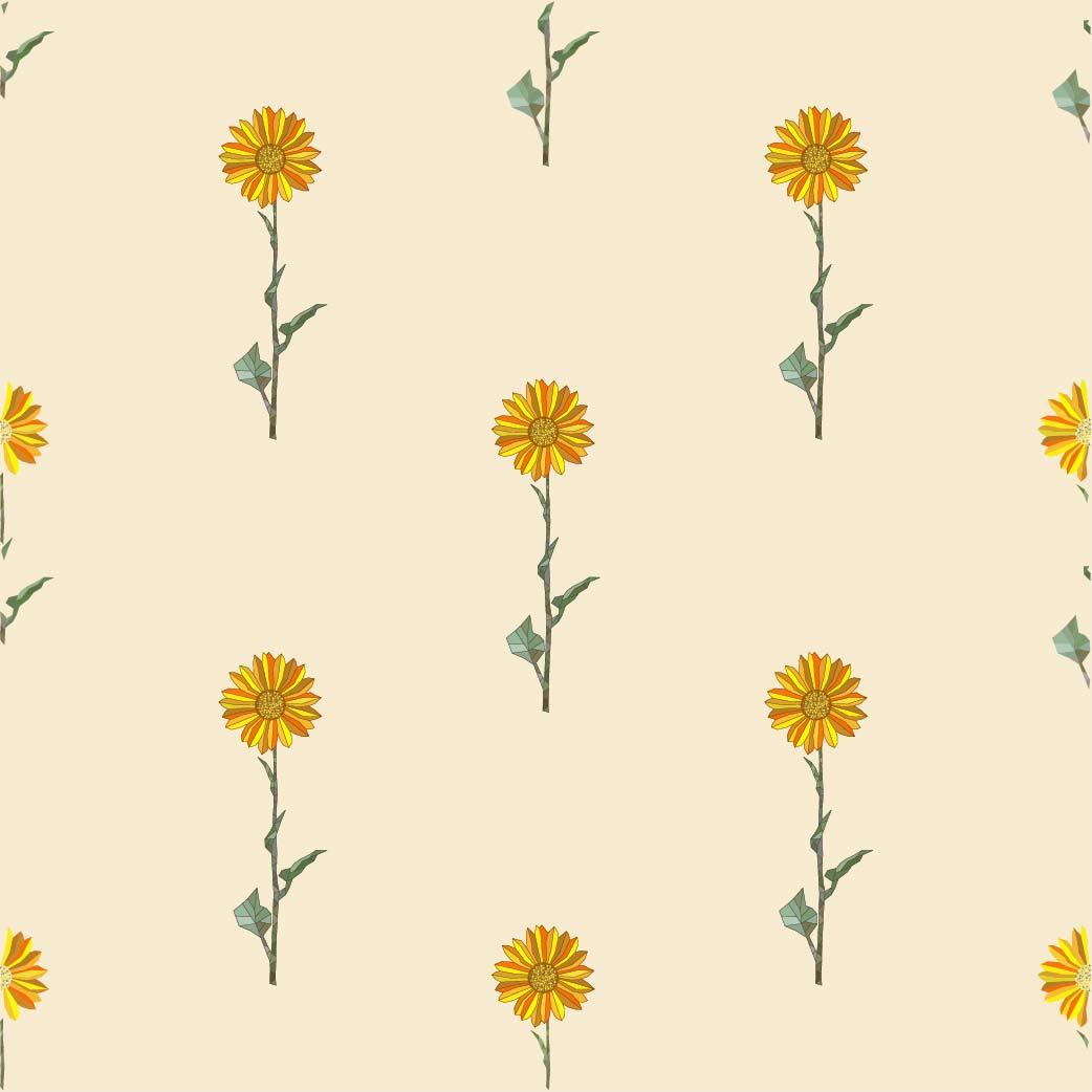 植物向日葵矢量图服装纺织面料数码印花花型素材-POP花型网
