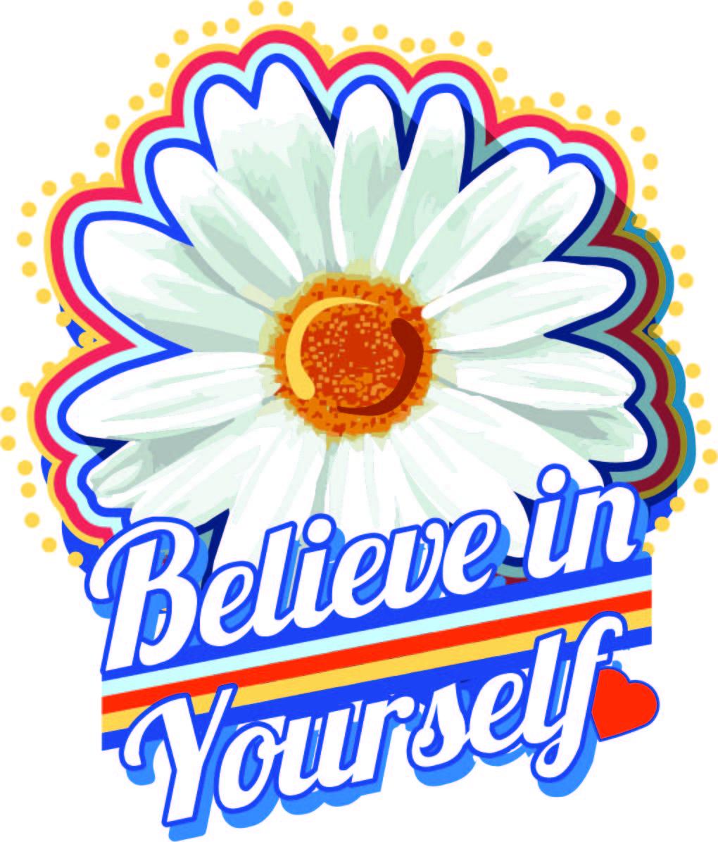 白色邹菊字母矢量图服装T恤裁片烫图印花花型素材-POP花型网