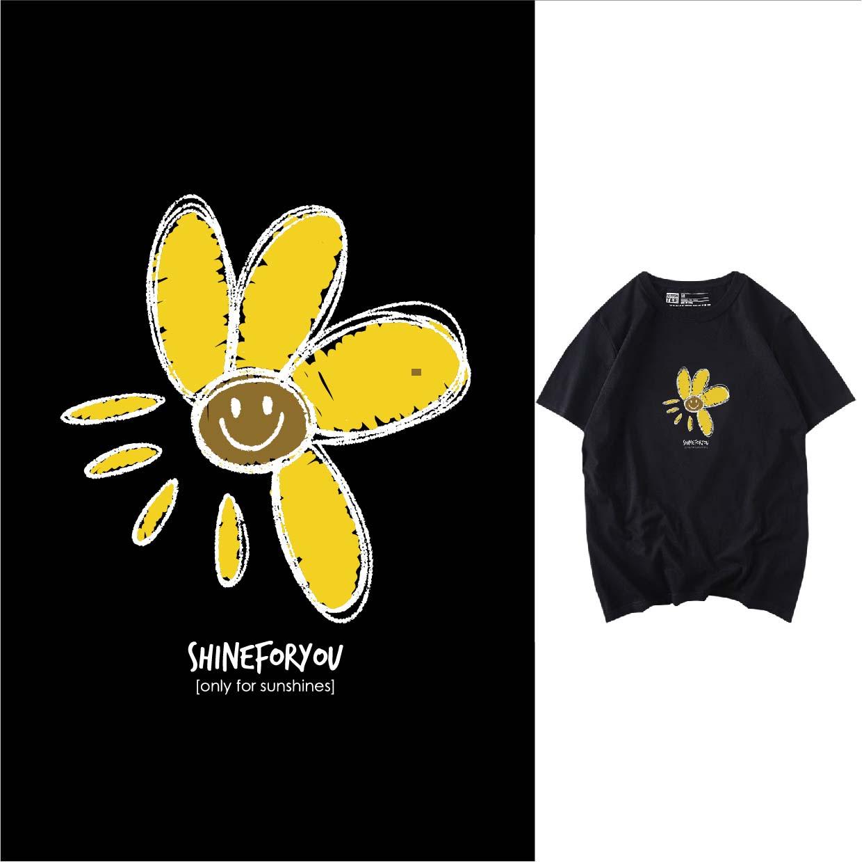 卡通花朵笑脸字母矢量图服装T恤裁片烫图印花花型素材-POP花型网