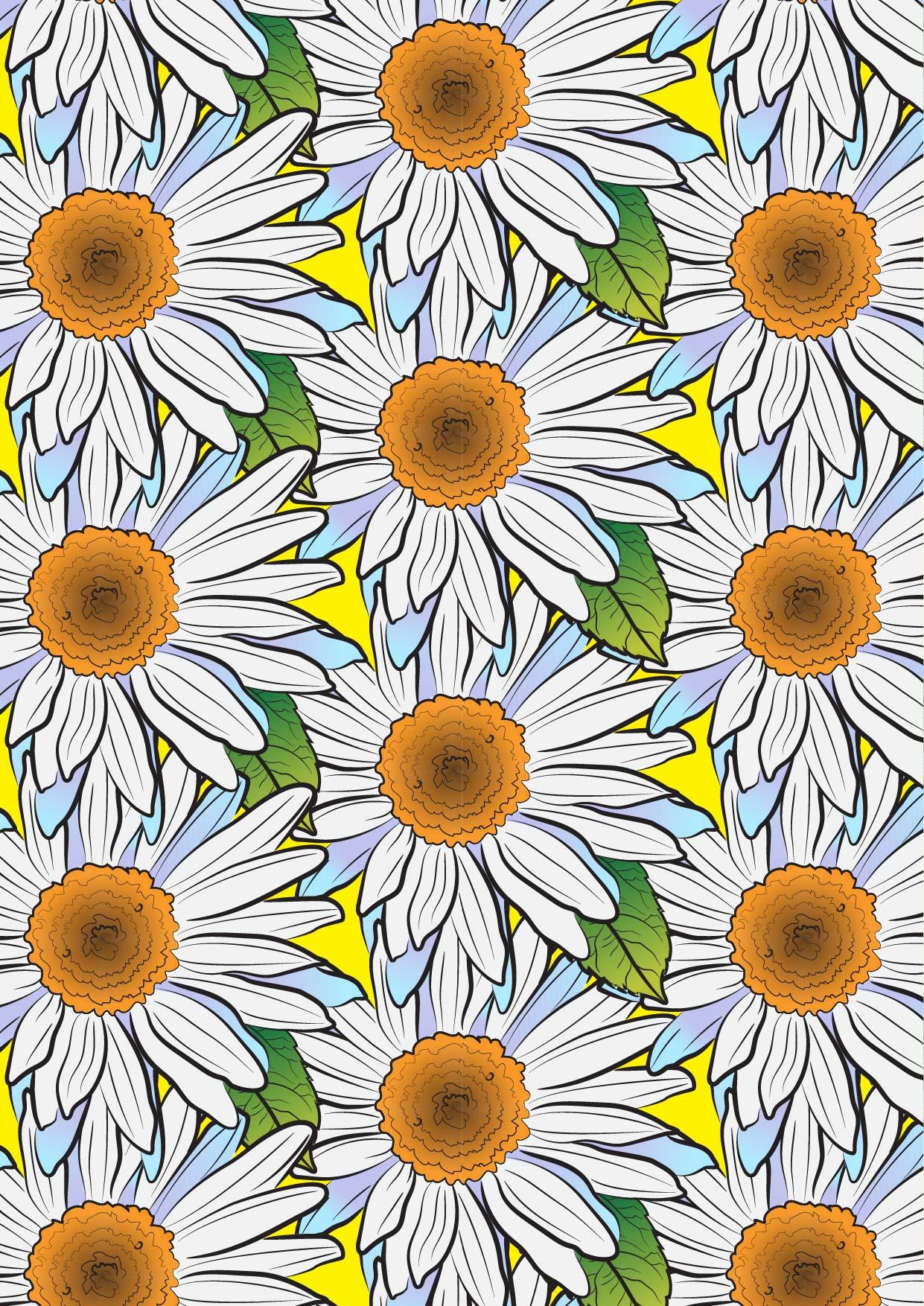 植物菊花花朵拼接矢量图服装纺织面料数码印花花型素材-POP花型网
