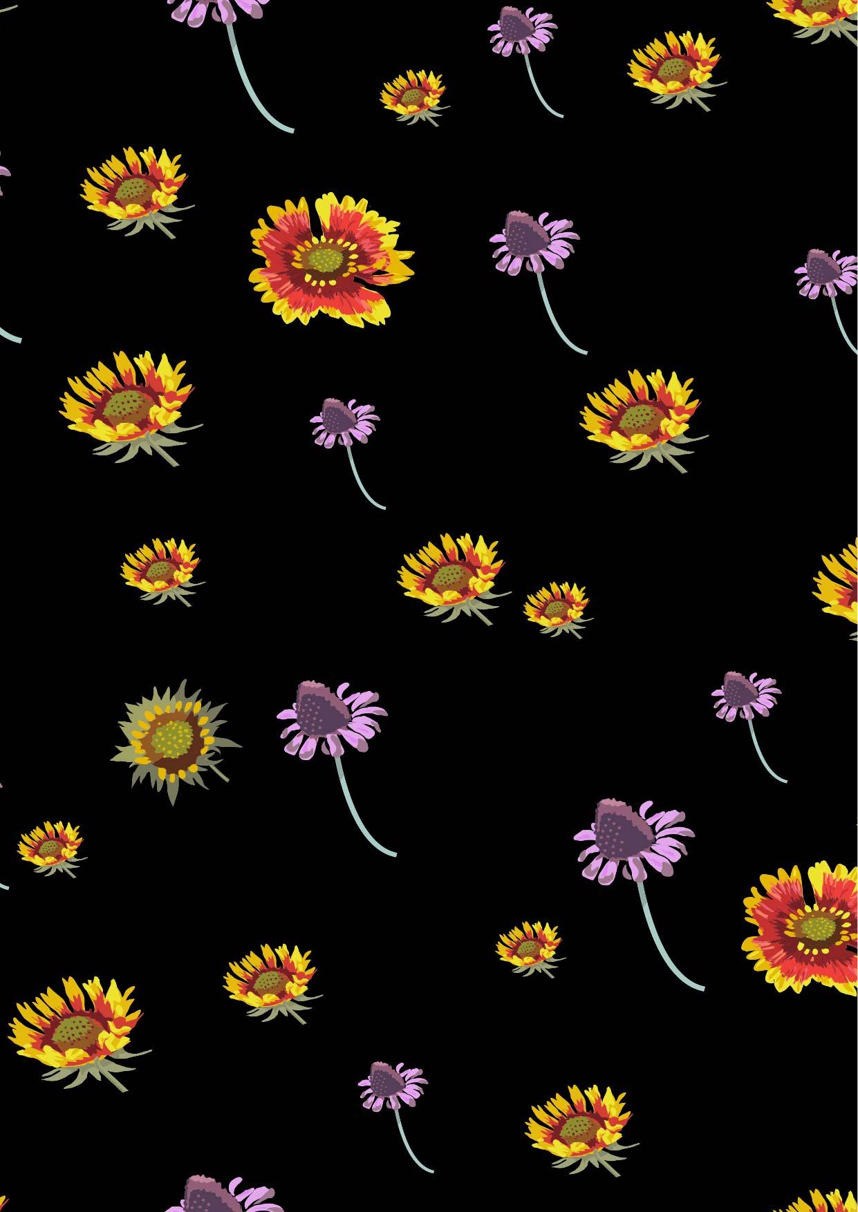 菊花花朵印花矢量图服装纺织面料数码印花花型素材-POP花型网