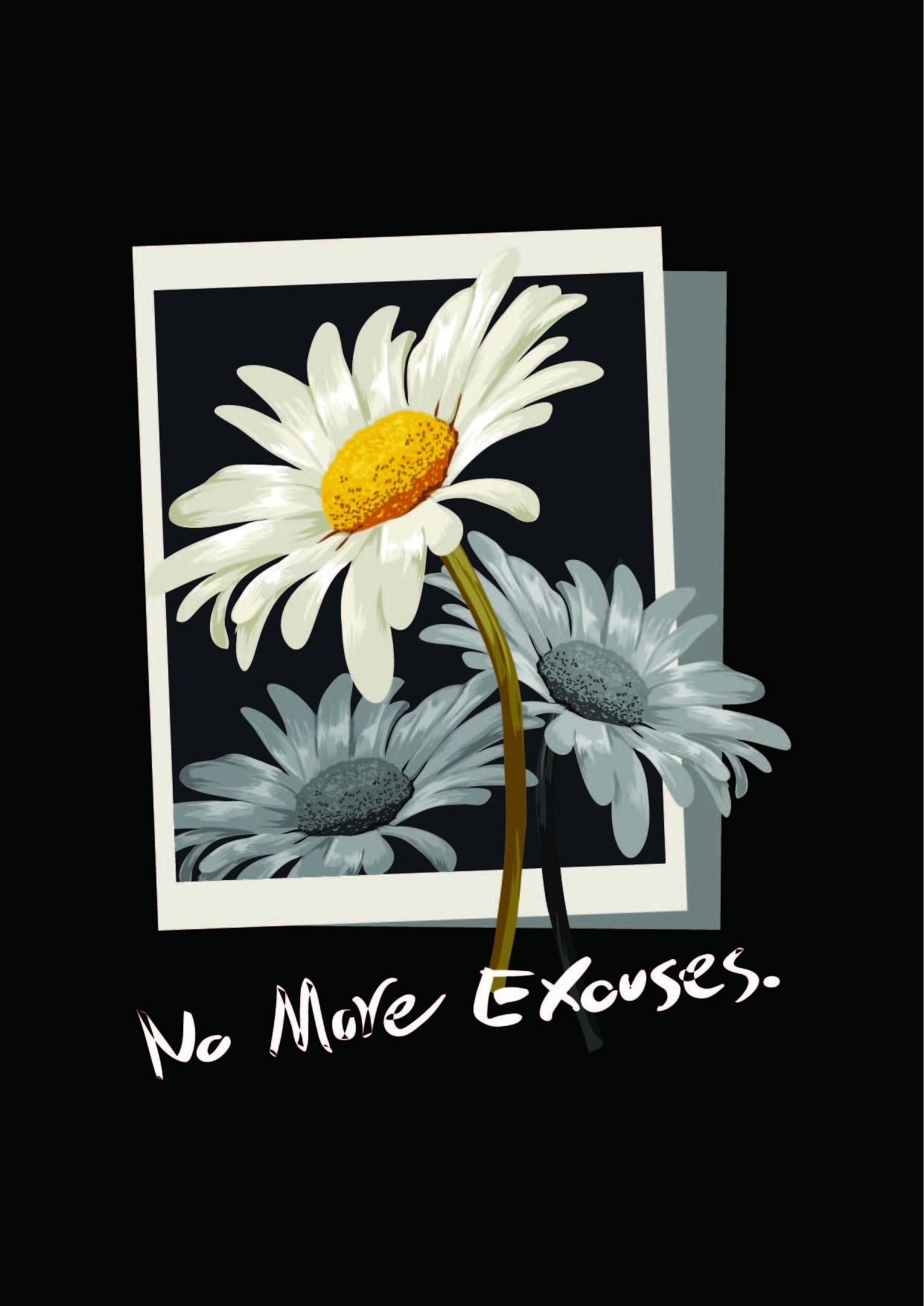 菊花字母印花花型服装T恤裁片烫图印花花型素材-POP花型网