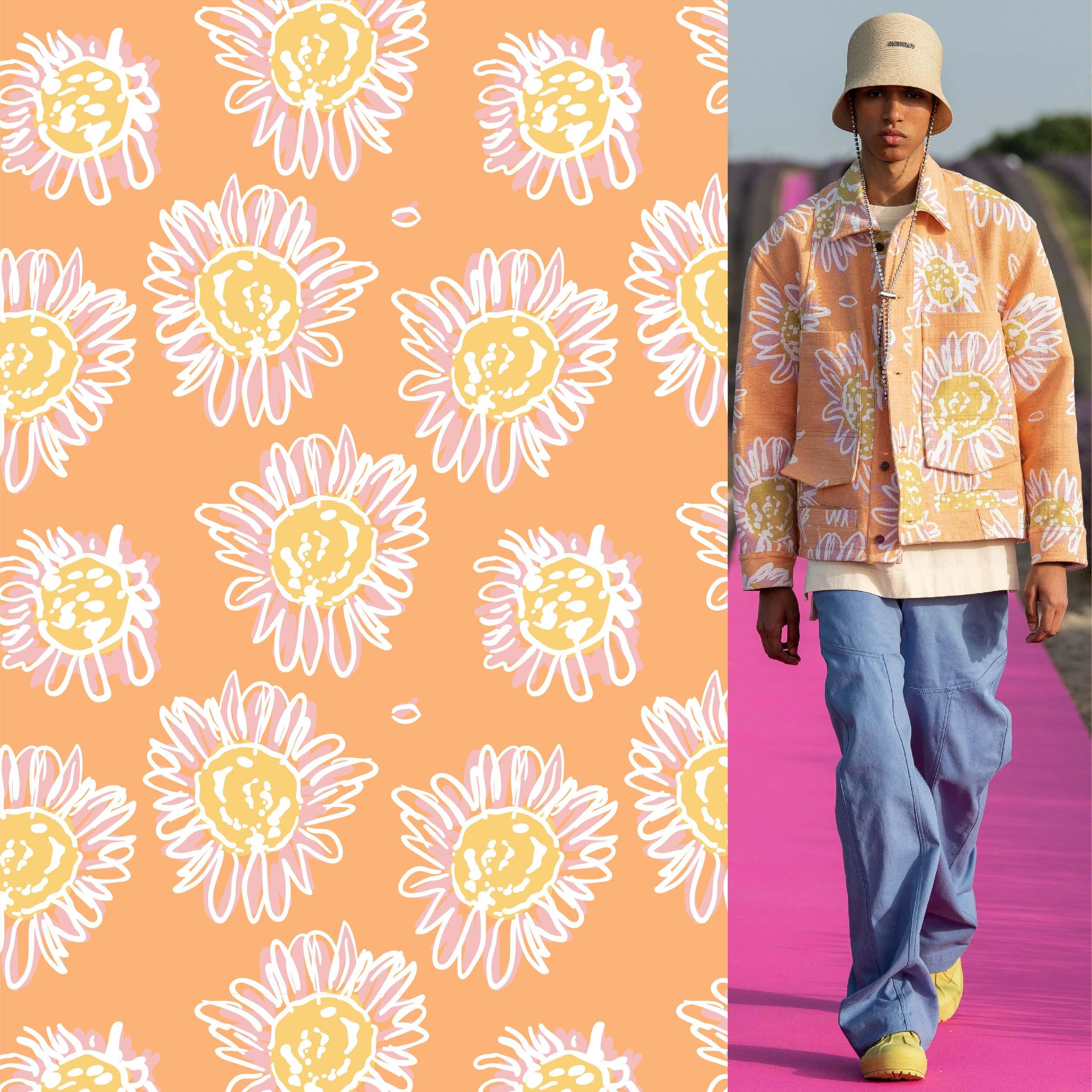 植物菊花花朵印花矢量图服装纺织面料数码印花花型素材-POP花型网