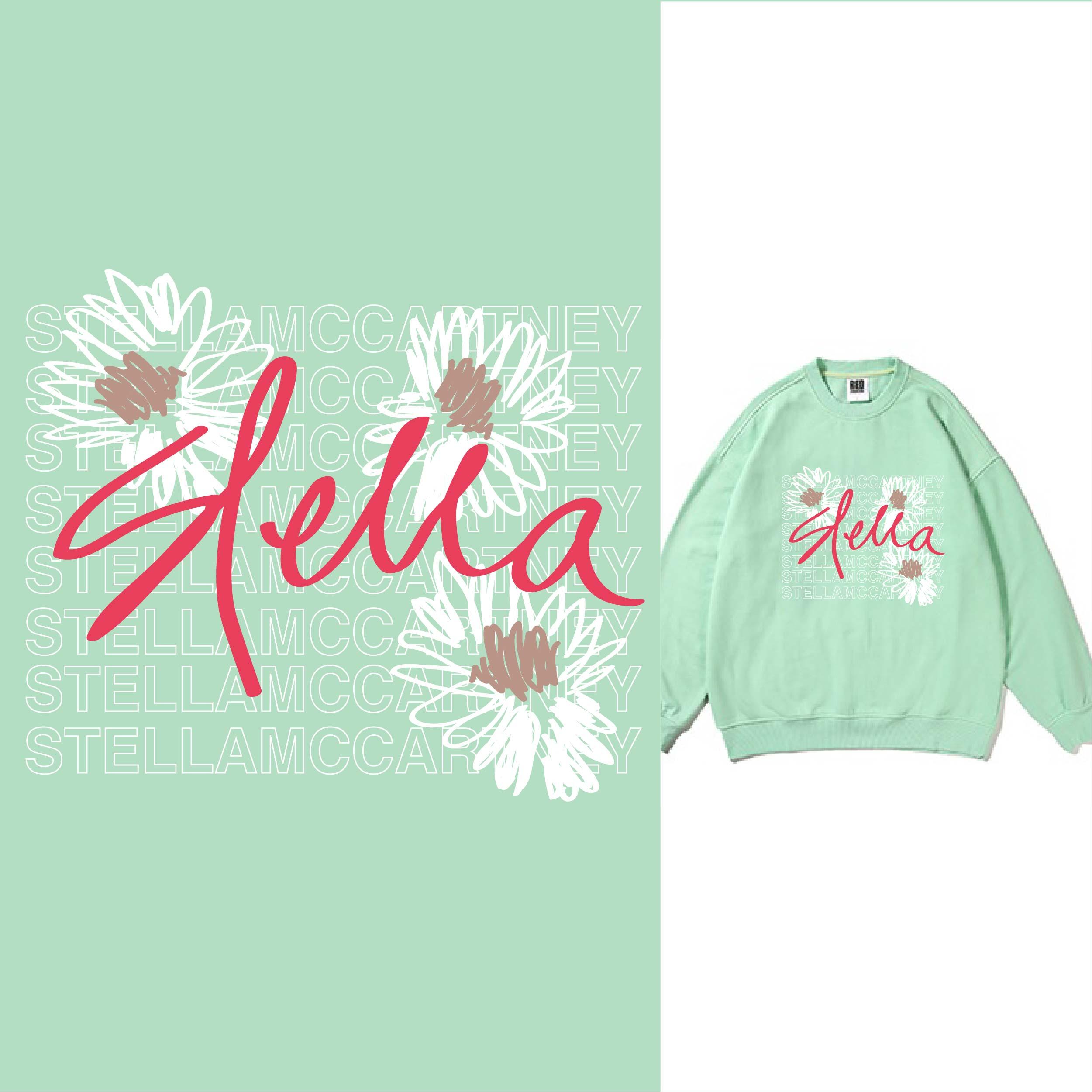 几何字母线条花朵矢量图服装T恤裁片烫图印花花型素材-POP花型网