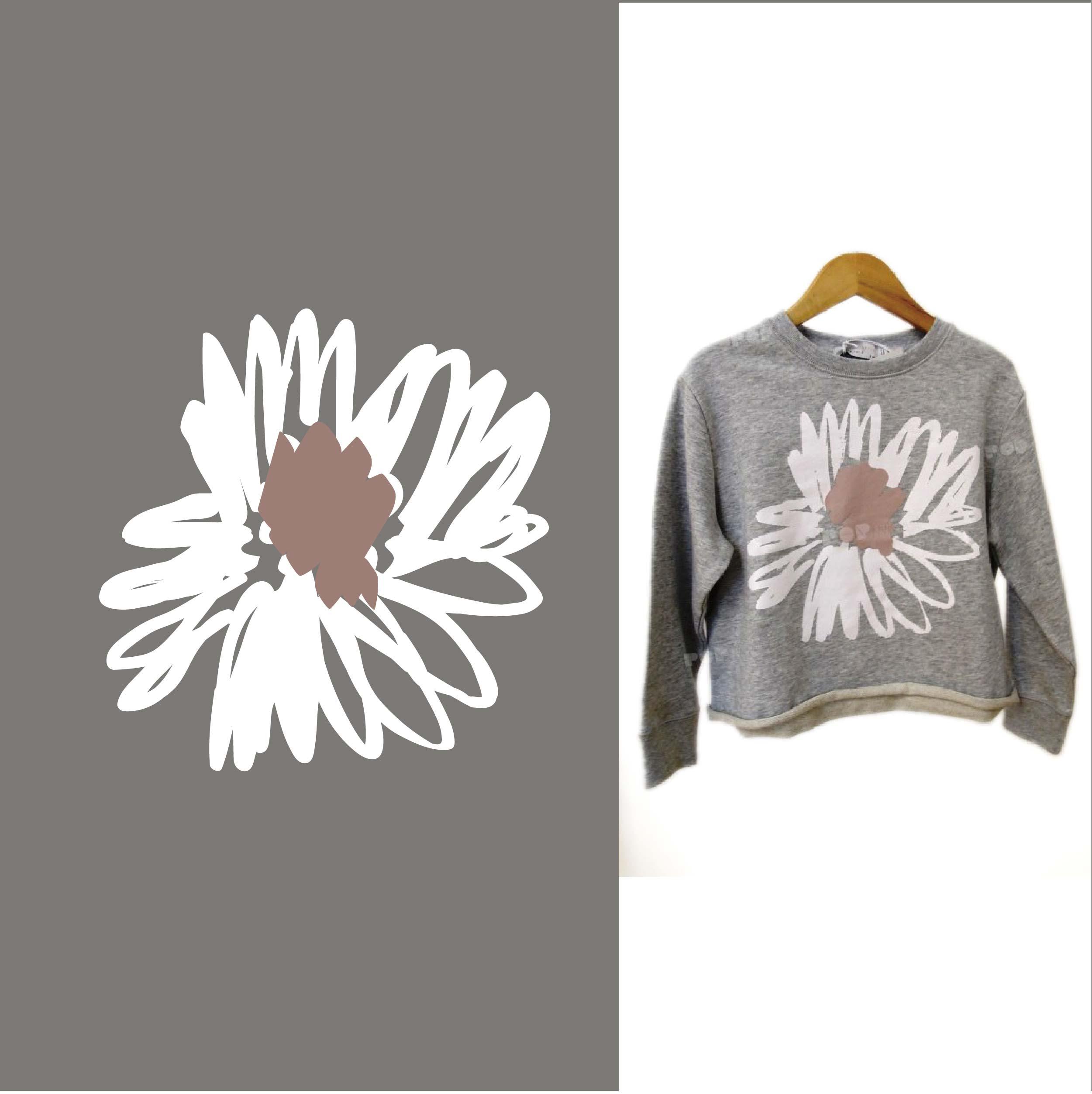 服装线条拼接花朵矢量图T恤裁片烫图印花花型素材-POP花型网