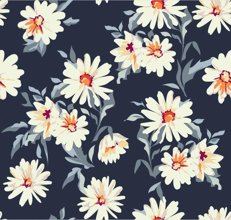 纺织植物花卉菊花花朵印花矢量图服装面料数码印花花型素材-POP花型网