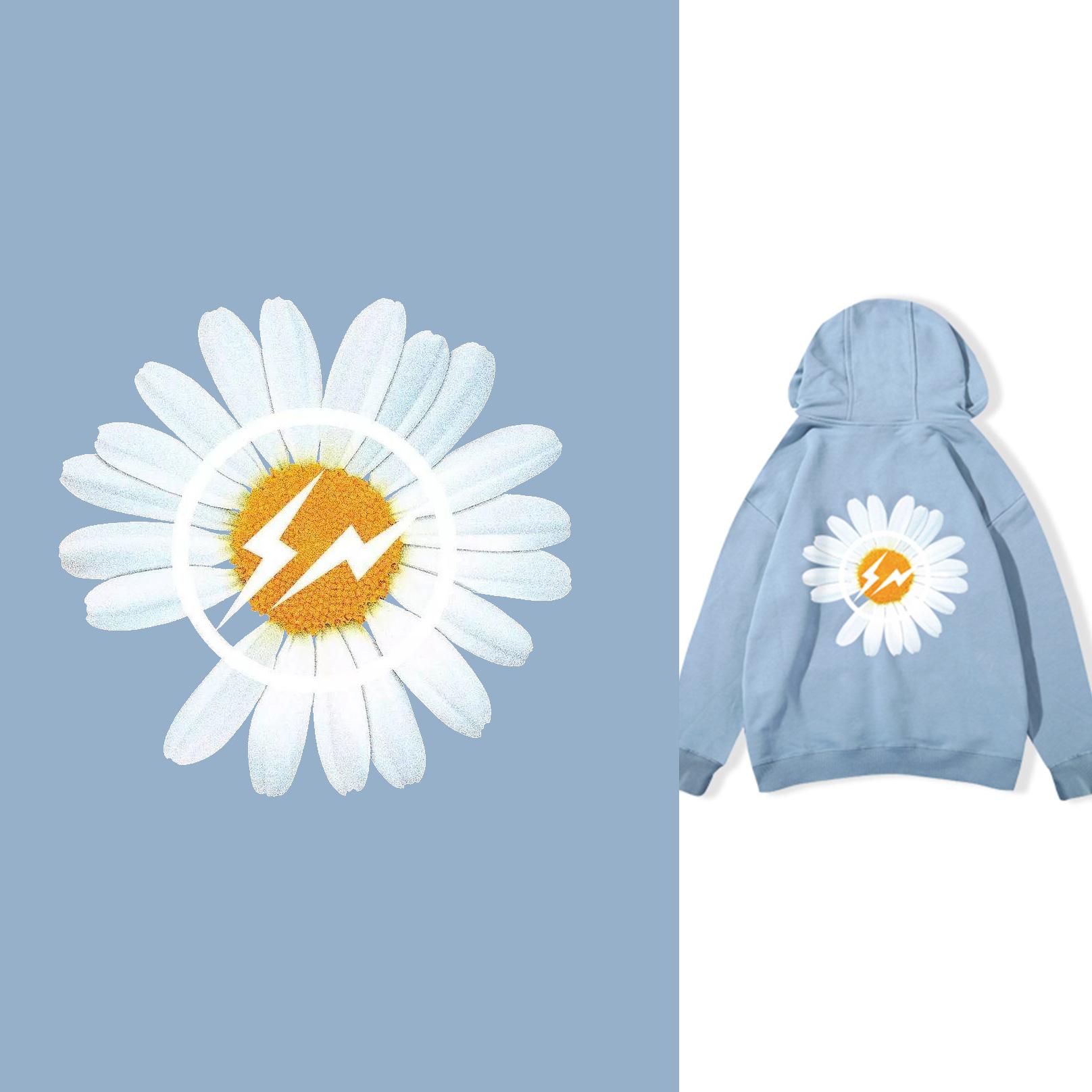 植物花朵菊花闪电拼接矢量图服装T恤裁片烫图印花花型素材-POP花型网