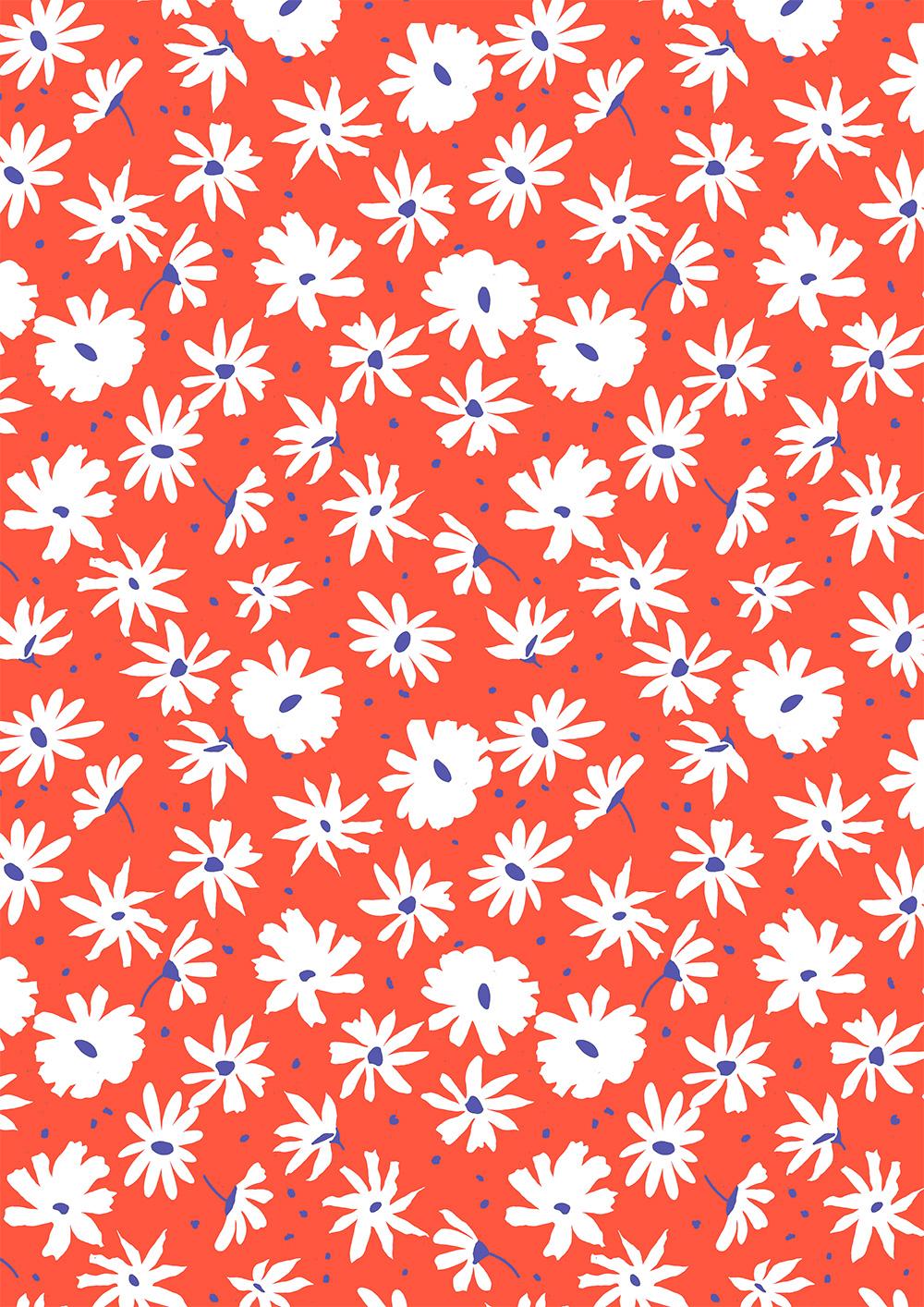 红色底色几何植物花纹拼接矢量图服装纺织面料数码印花花型素材-POP花型网