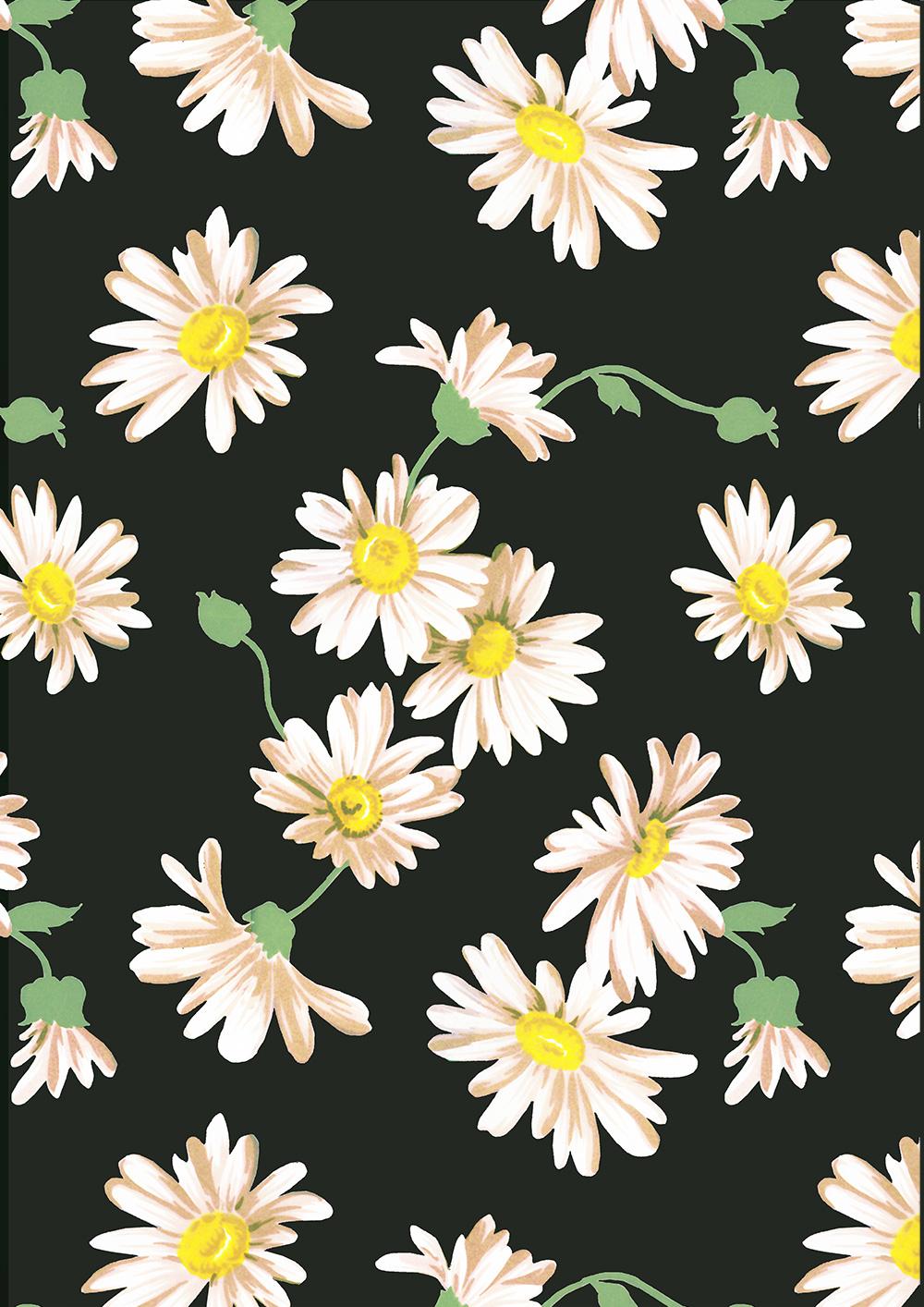 植物菊花拼接矢量图服装纺织面料数码印花花型素材-POP花型网