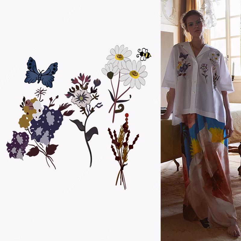 植物花朵蝴蝶矢量图服装T恤裁片烫图印花花型素材-POP花型网